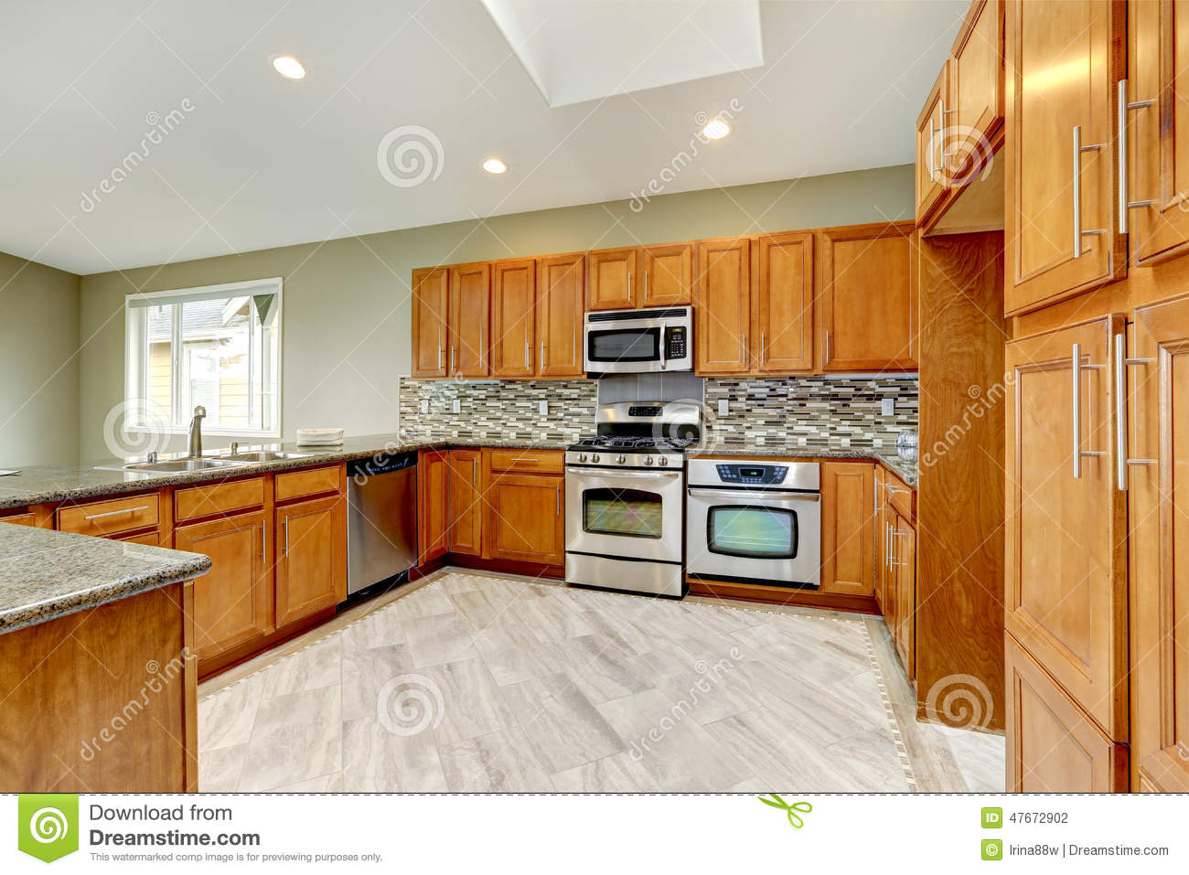 Luxury kitchen room with bright brown cabinets stock photo image 47672902 - Luxury kitchen room ...