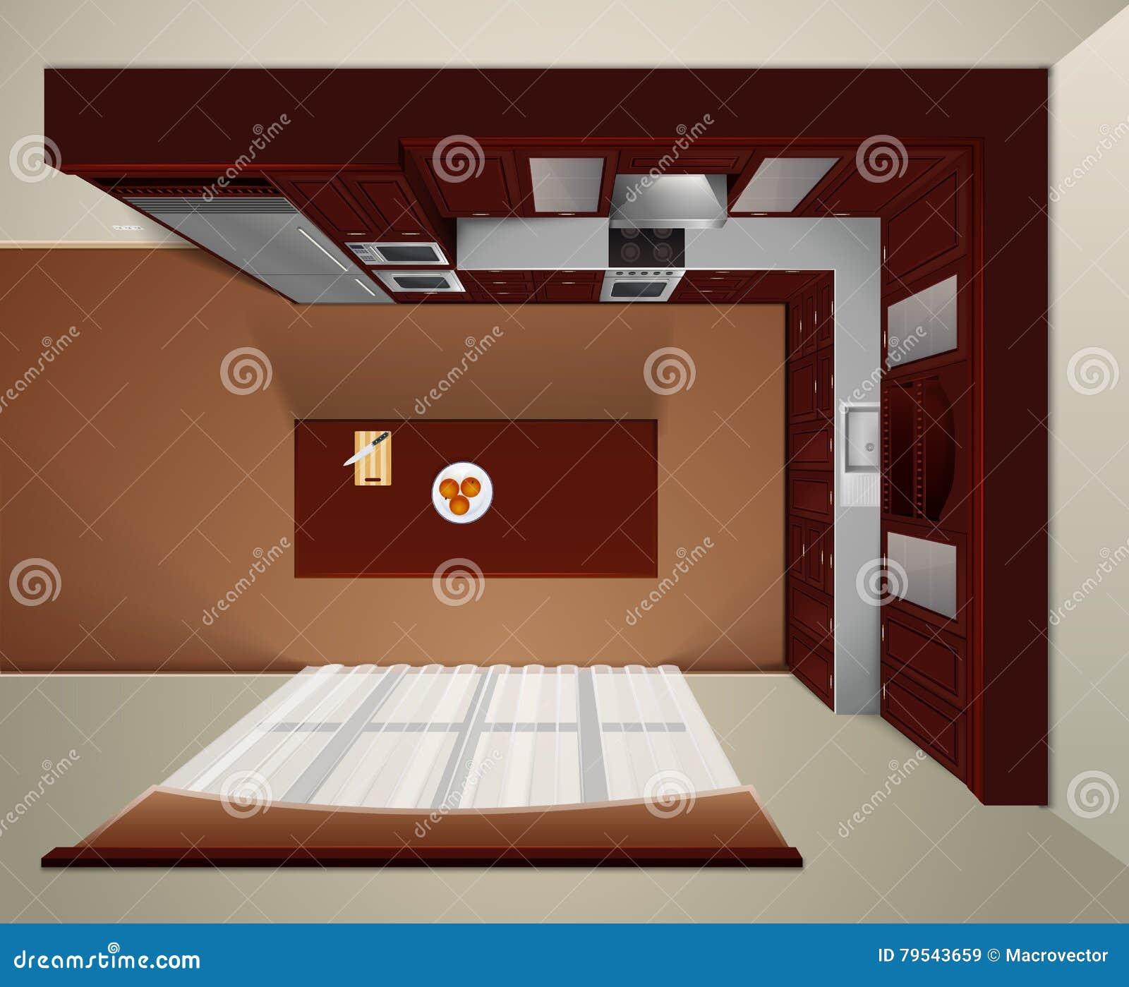 Modern Corner Kitchen Interior. Top View Royalty-Free
