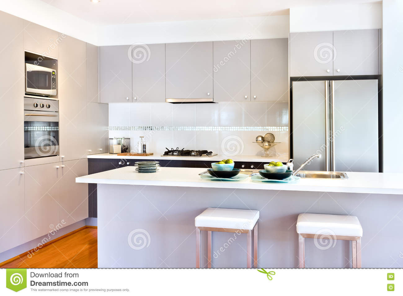Luxury kitchen with white walls of a modern house