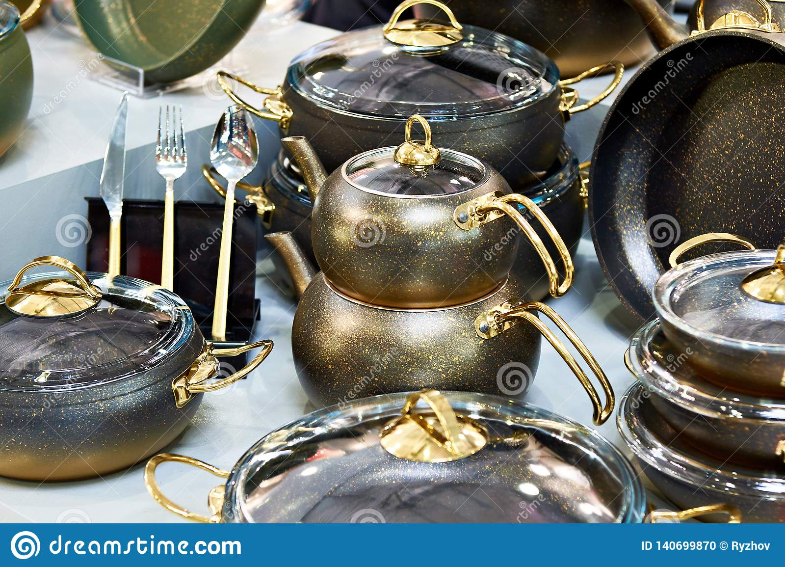 Luxury Kitchenware In Store Stock Photo - Image of shop ...