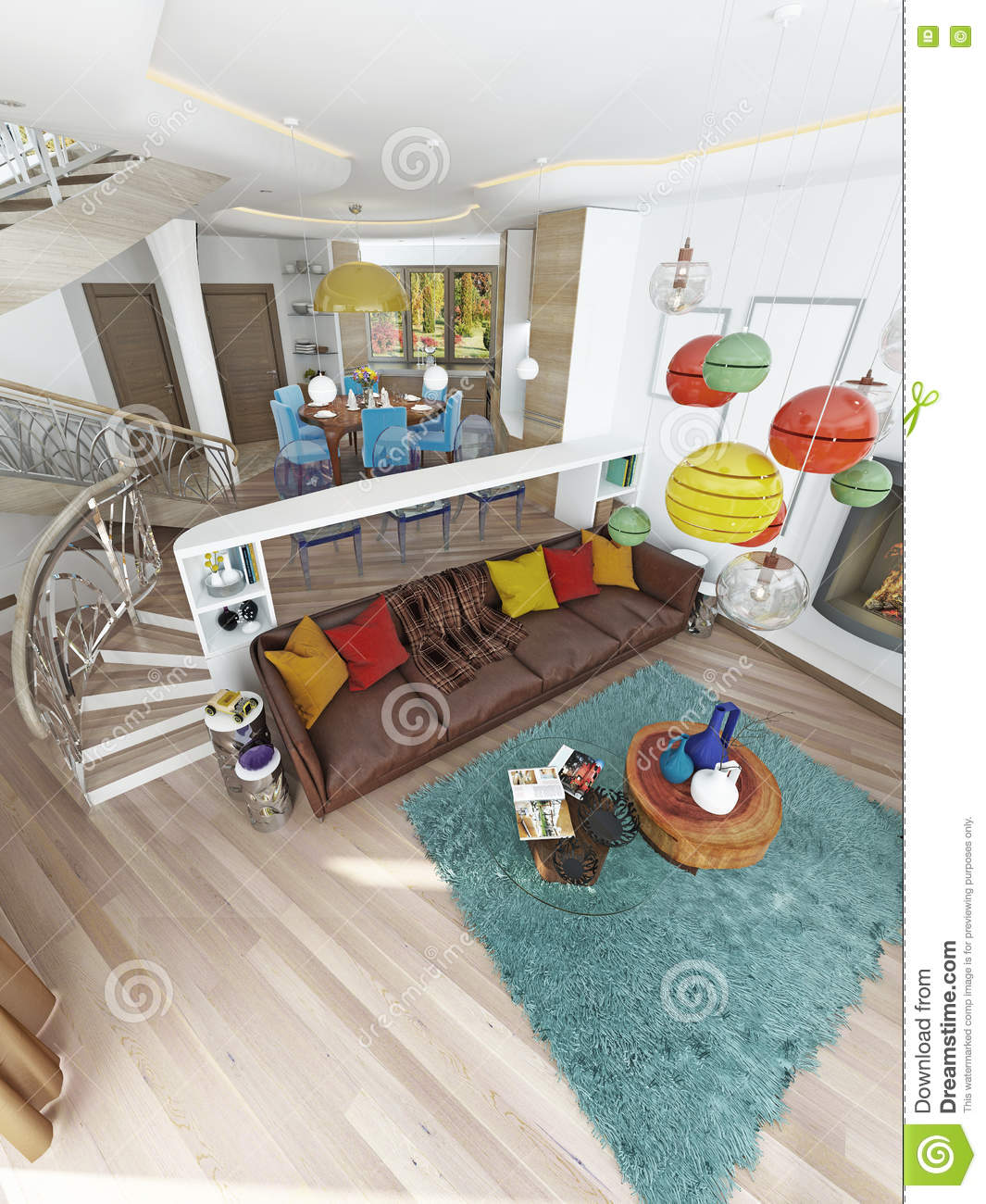 Luxury Large Living Room In The Style Of Kitsch Stock Illustration
