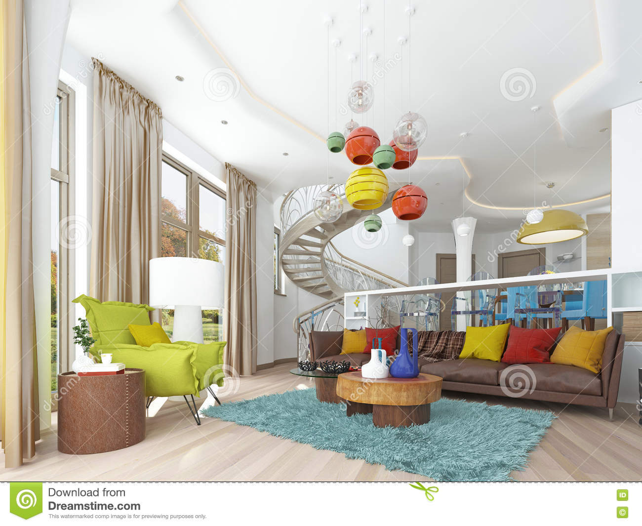 Luxury Large Living Room In The Style Of Kitsch. Stock