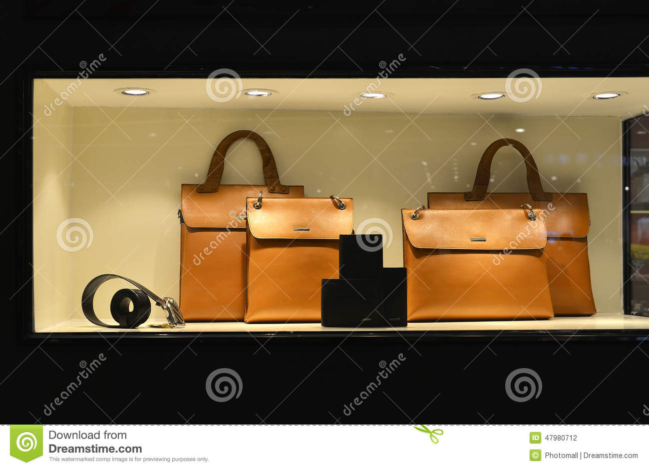 fashionable Luxury leather handbag Belt Wallet in shop window lit up by led light ,handbag store,shopping,clothing shop