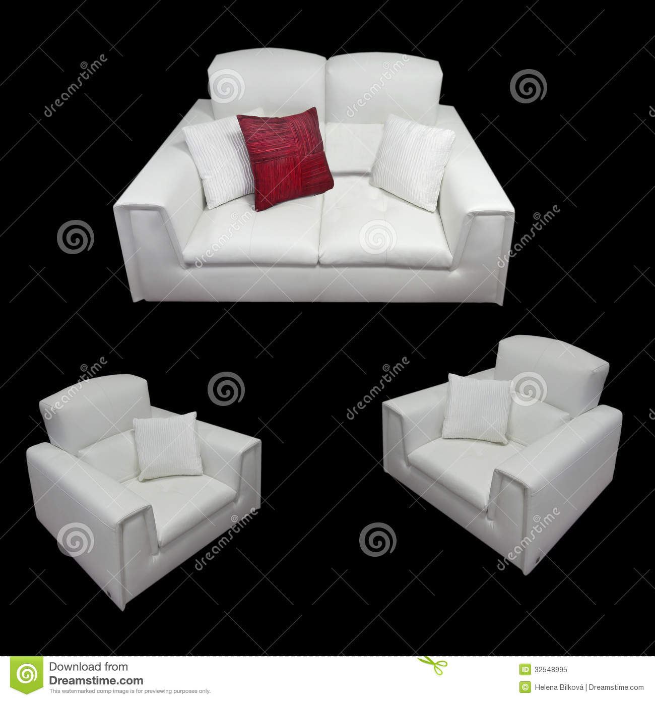 White Sofa And Armchairs Royalty Free Stock Photo Image