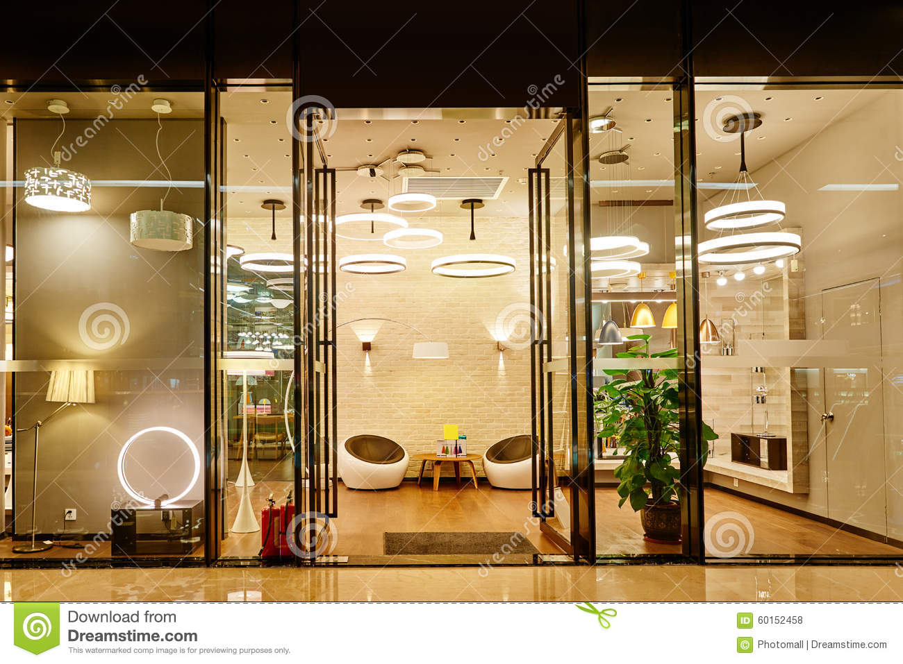 Luxury Led Lighting Shop Window Stock Photo