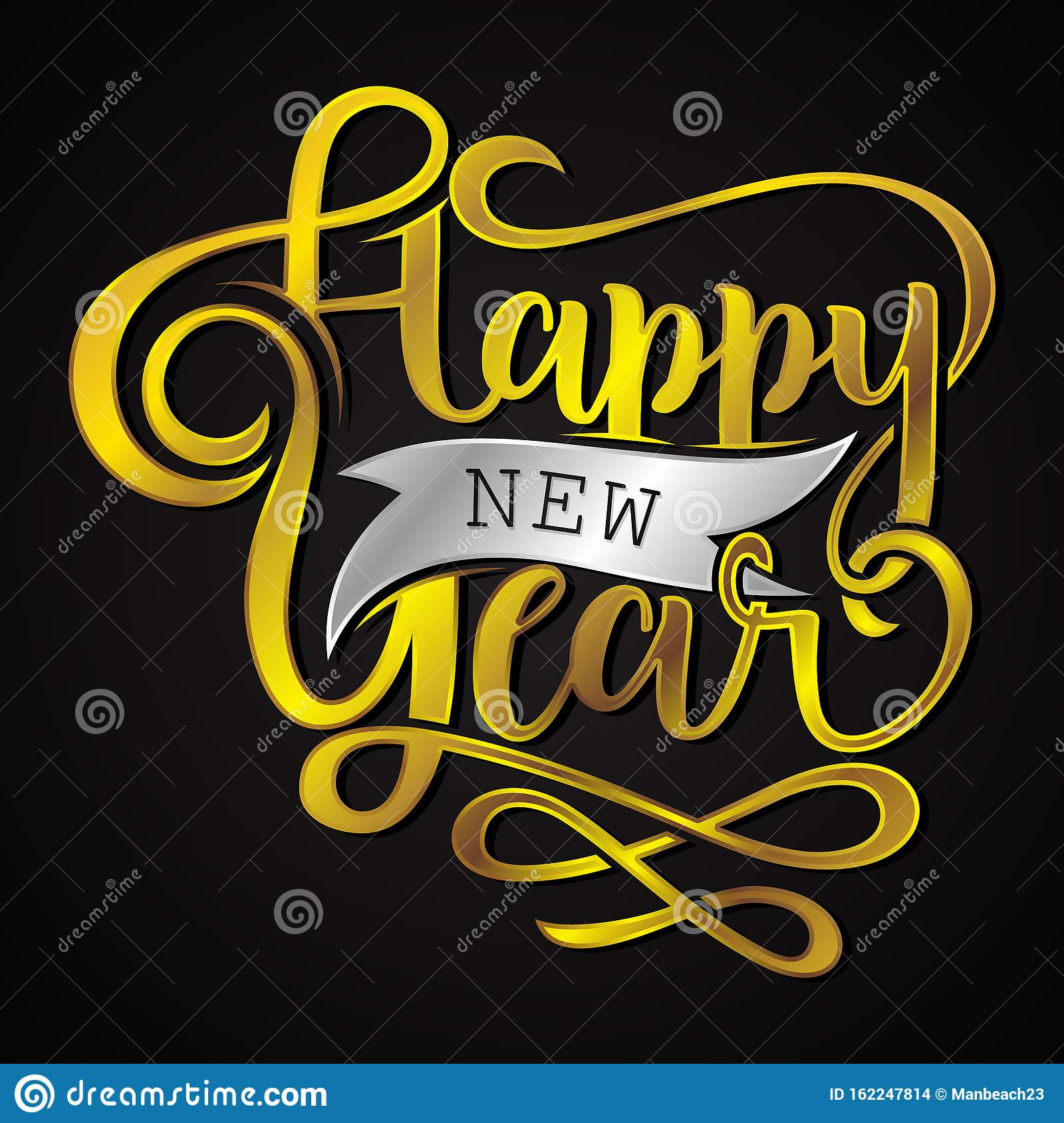 Luxury Letter Emblem Happy New Year Greeting Card Or ...