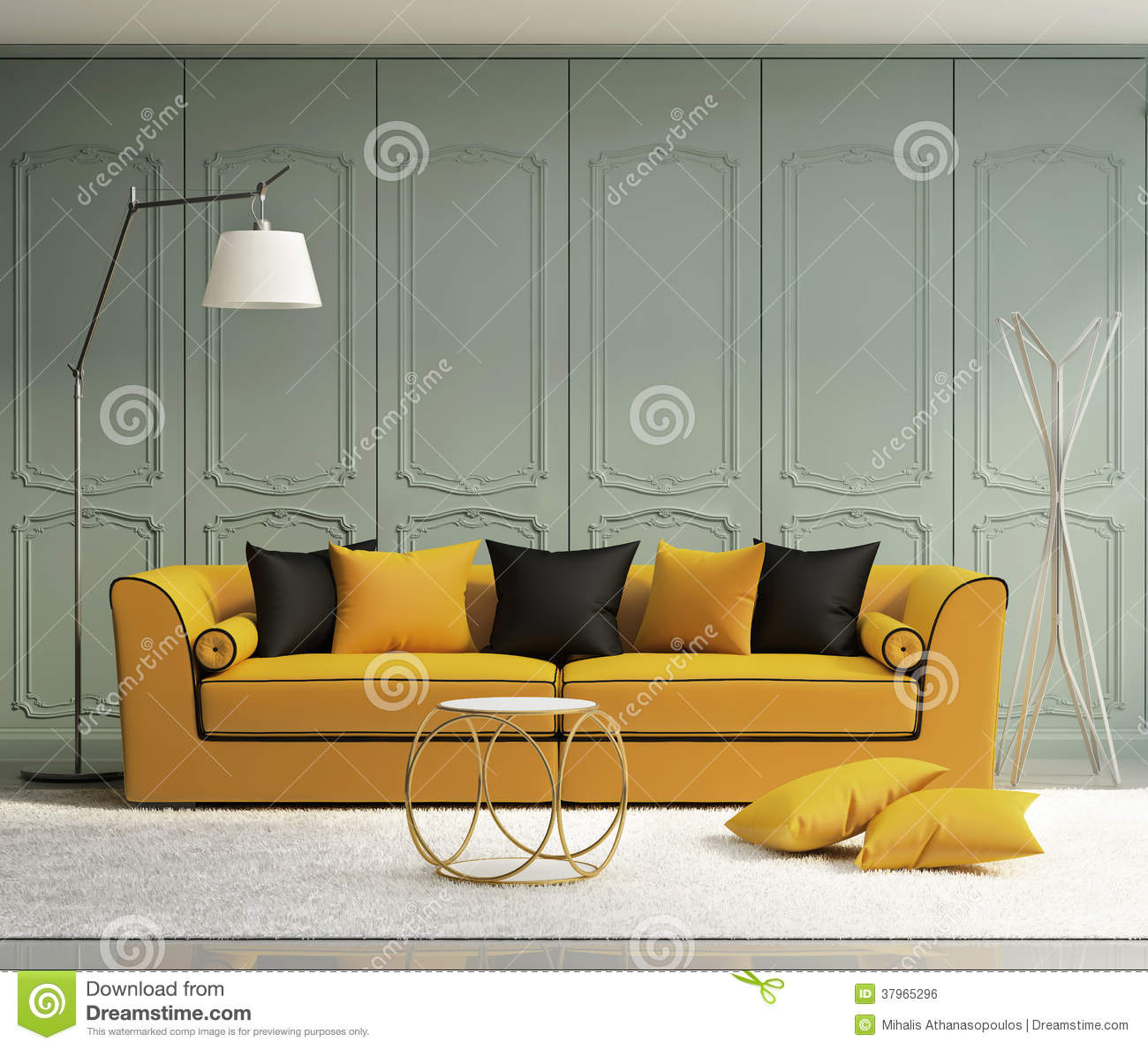 Luxury Light Green Living Room Royalty Free Stock Image