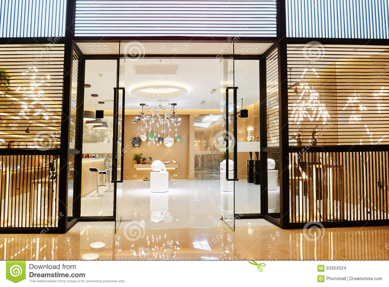 Luxury home lighting shop in shopping mall