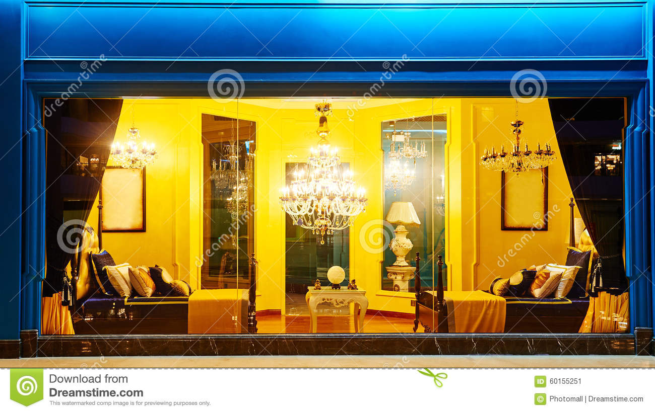 Front Luxury Lighting Furniture Shop Window Decoration