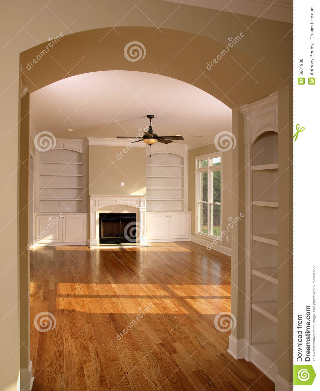 Luxury Kitchen Room Interior Bright Wooden Stock Vector: Luxury Living Room With Arched Entrance Stock Photo