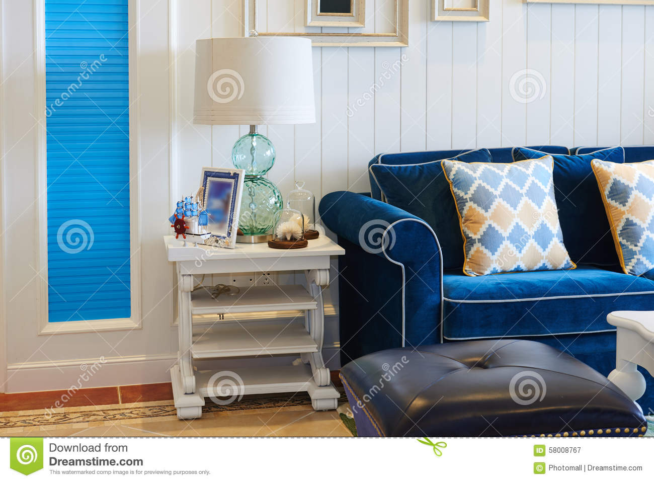 Blue Sofa Room Part - 41: Blue Glass Home Light Living Luxury Room Sofa ...