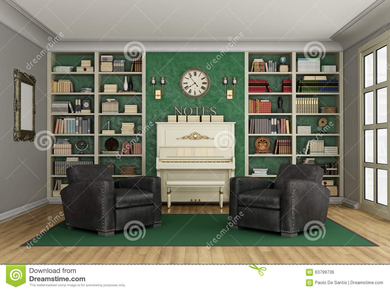 Luxury Living Room Bookcase And Upright Piano Stock Illustration Image 637