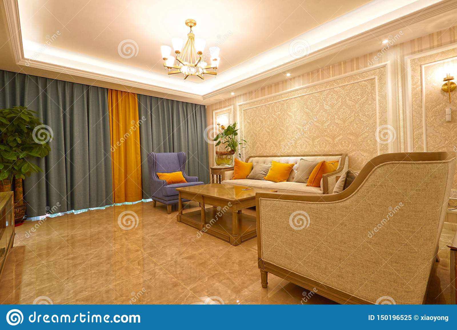 Modern House Luxury Living Room Stock Image Image Of Curtains