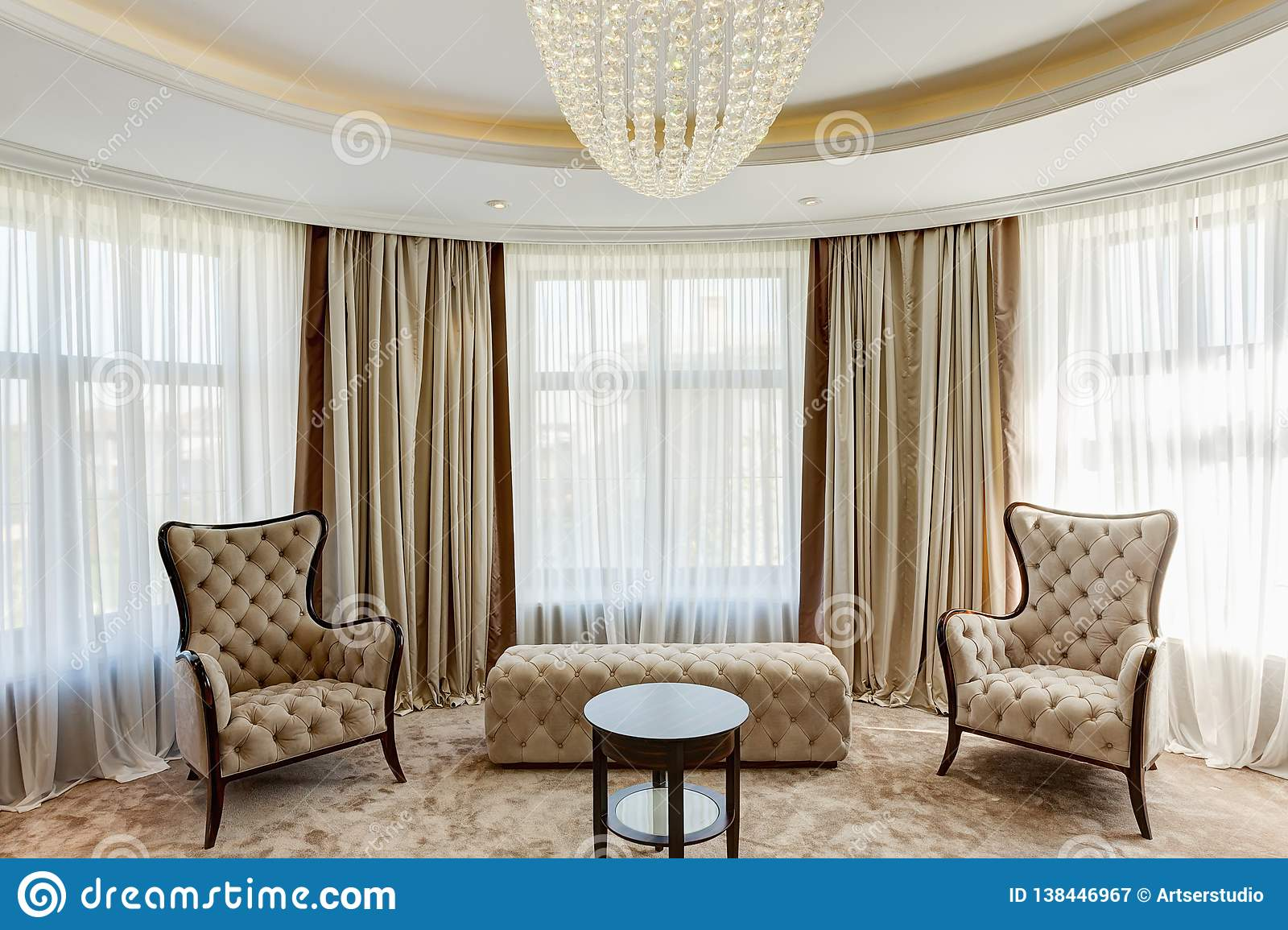 Luxury Living Room With Classic Interior Stock Image Image Of