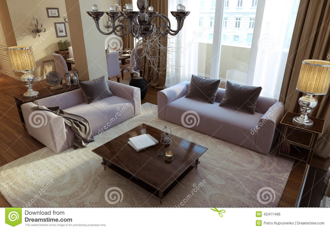 Luxury Living Room Dining Art Deco Style