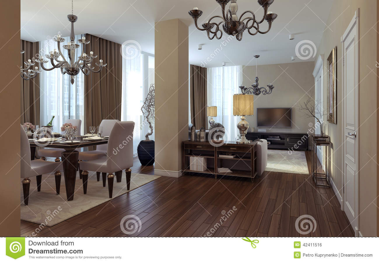 Luxury Living Room Dining Room Art Deco Style Stock