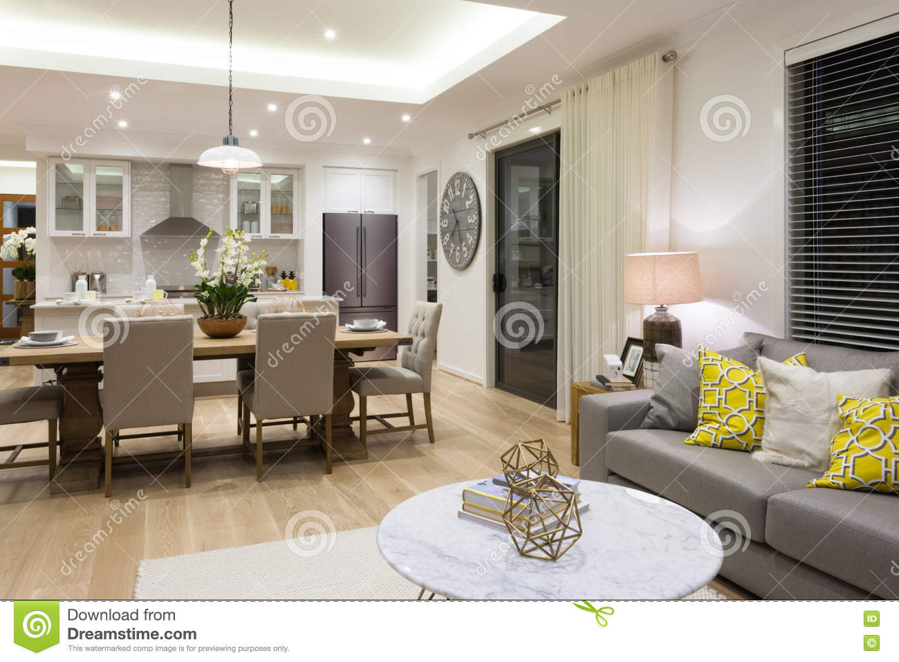 Luxury living room beside a dining room and the kitchen Kitchen table in living room