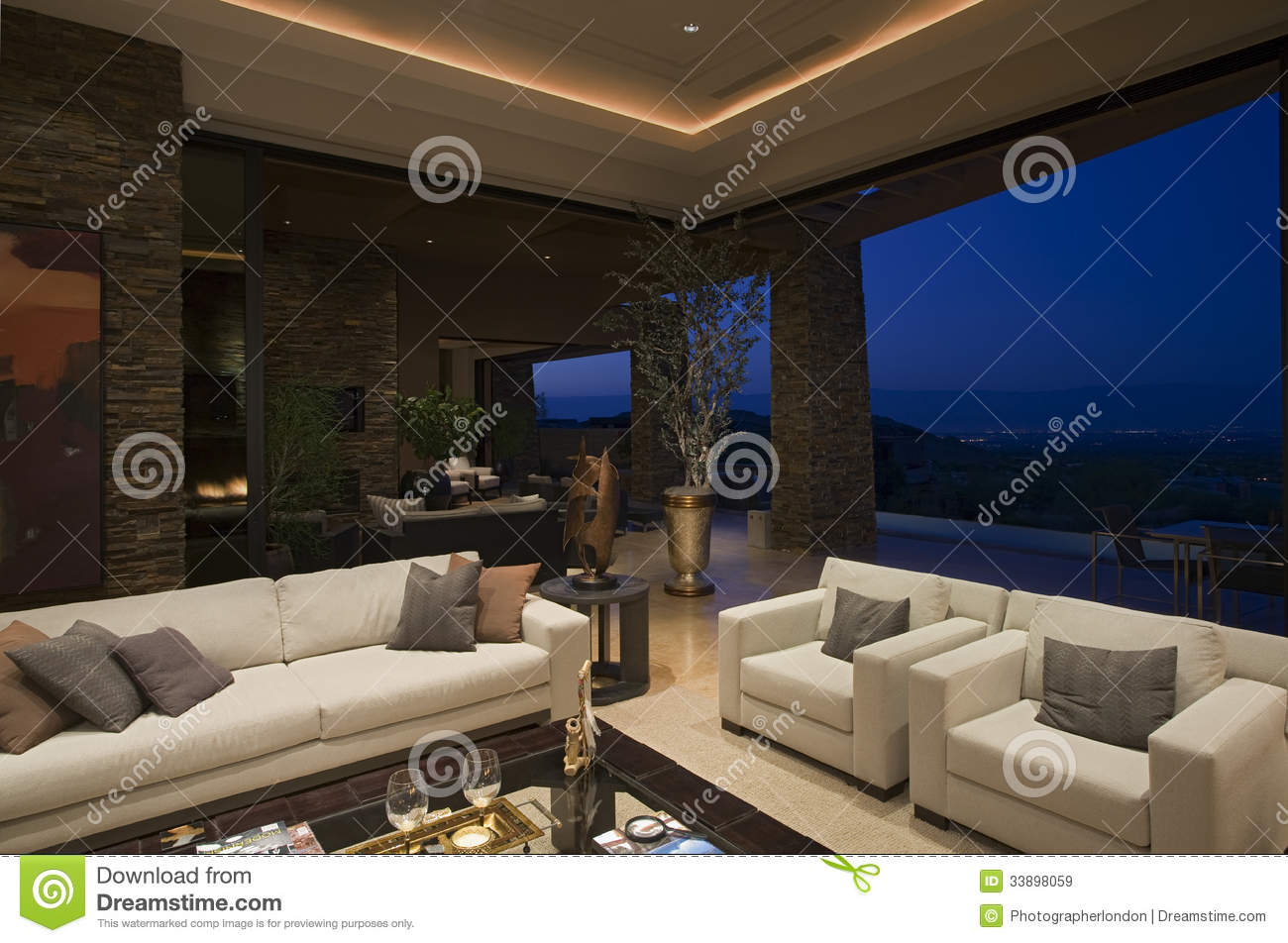 Luxury Living Room In House At Night Stock Image Image Of View Wall 33898059