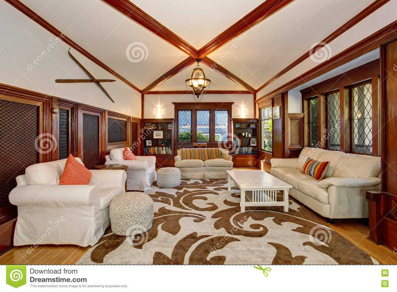 luxury living room interior with built in furniture vaulted ceiling and beams built furniture living room