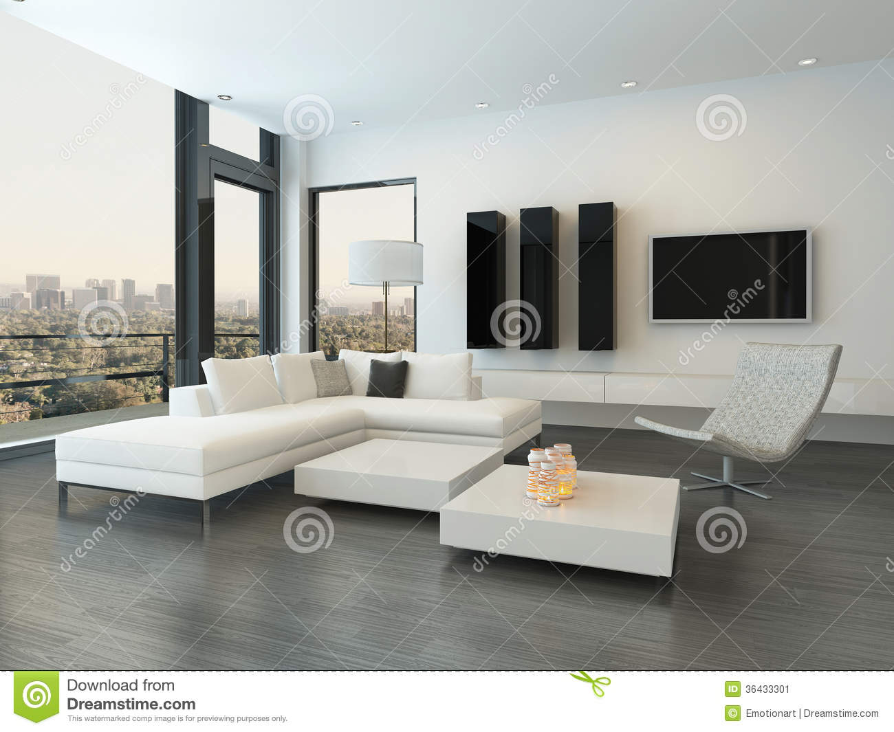 Luxury Living Room Interior With Huge Windows Stock Illustration ...