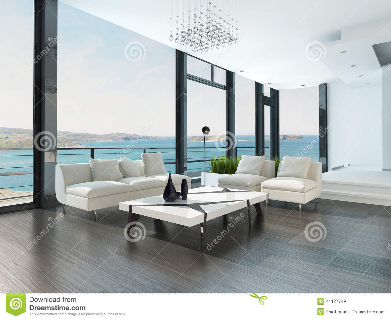 Luxury Living Room Interior With White Couch And Seascape