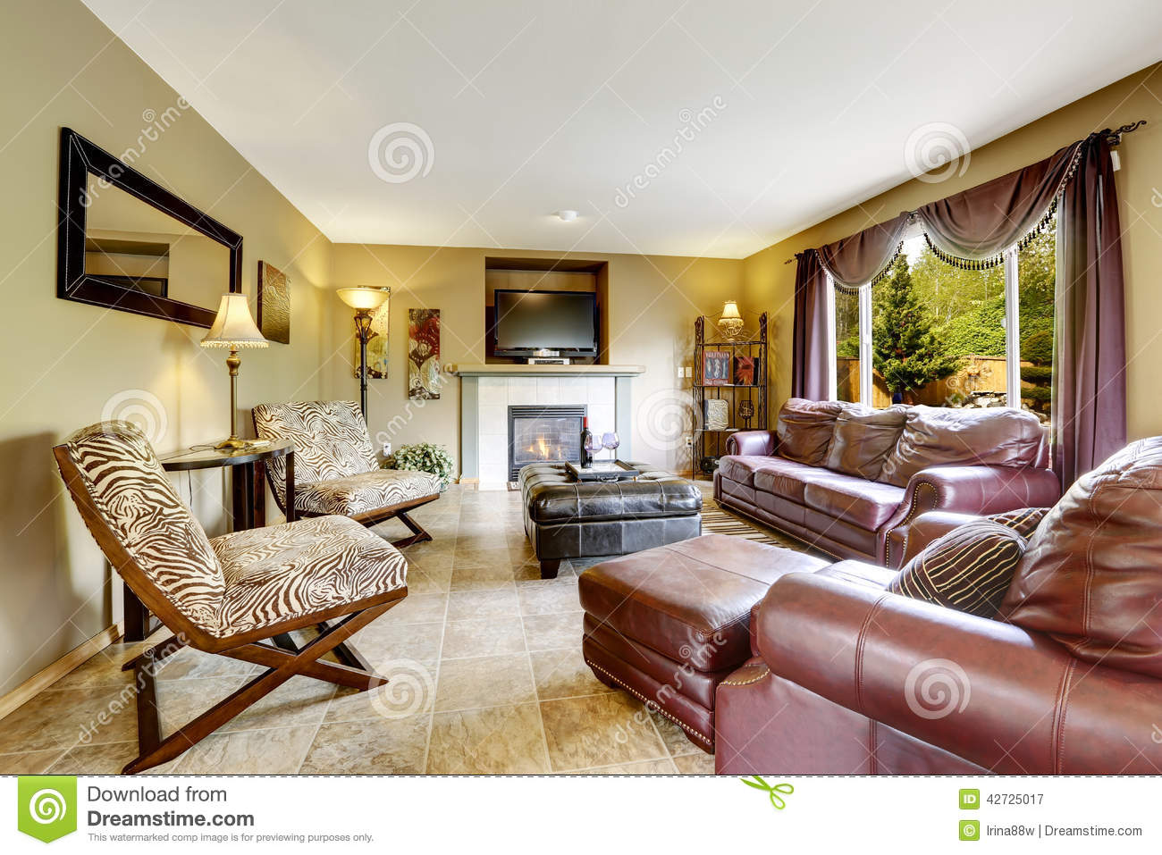Luxury Living Room With Leather Furniture Set Stock Photo Image 42725017