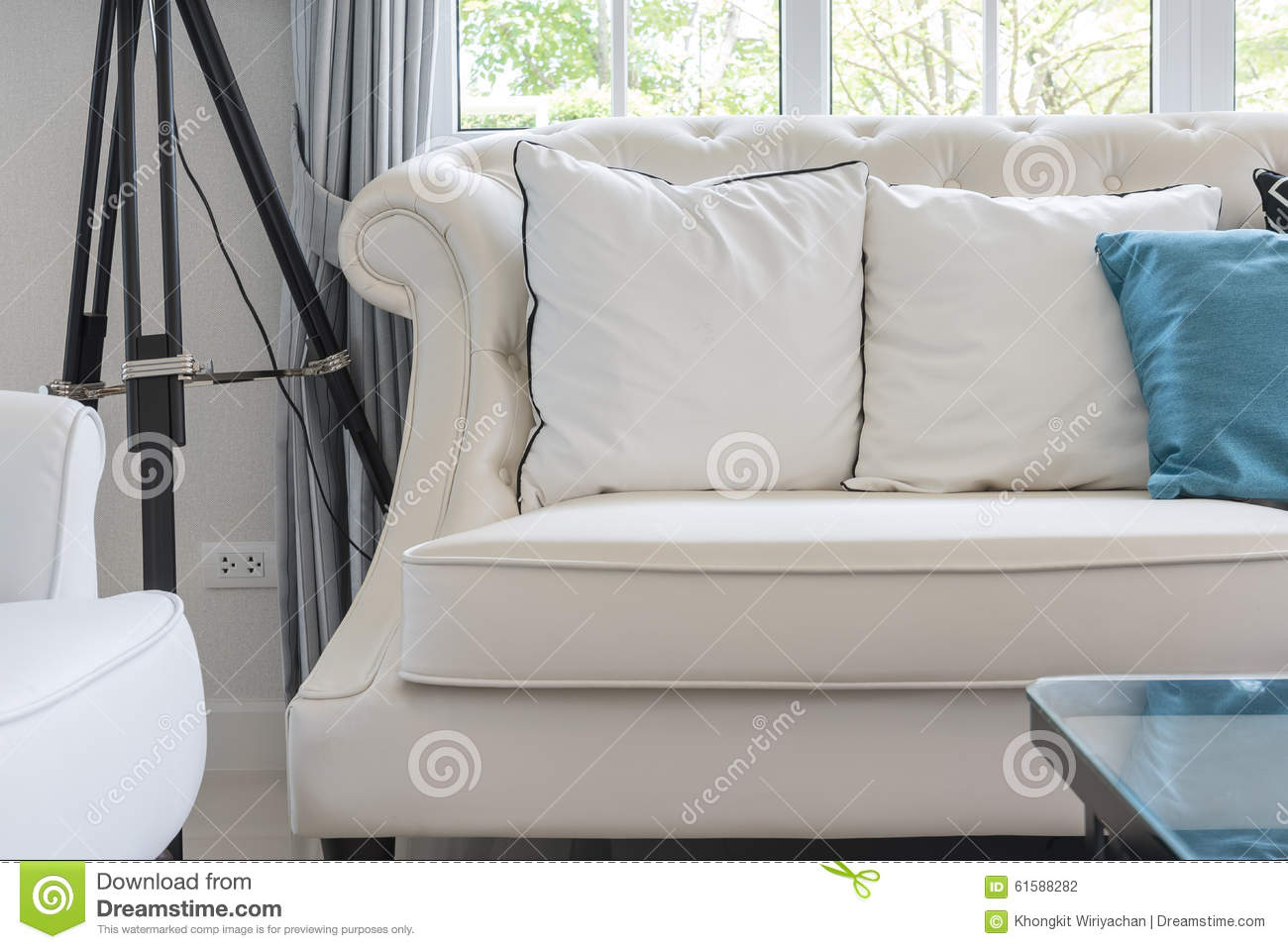 Luxury Living Room With White Pillows On Classic Style
