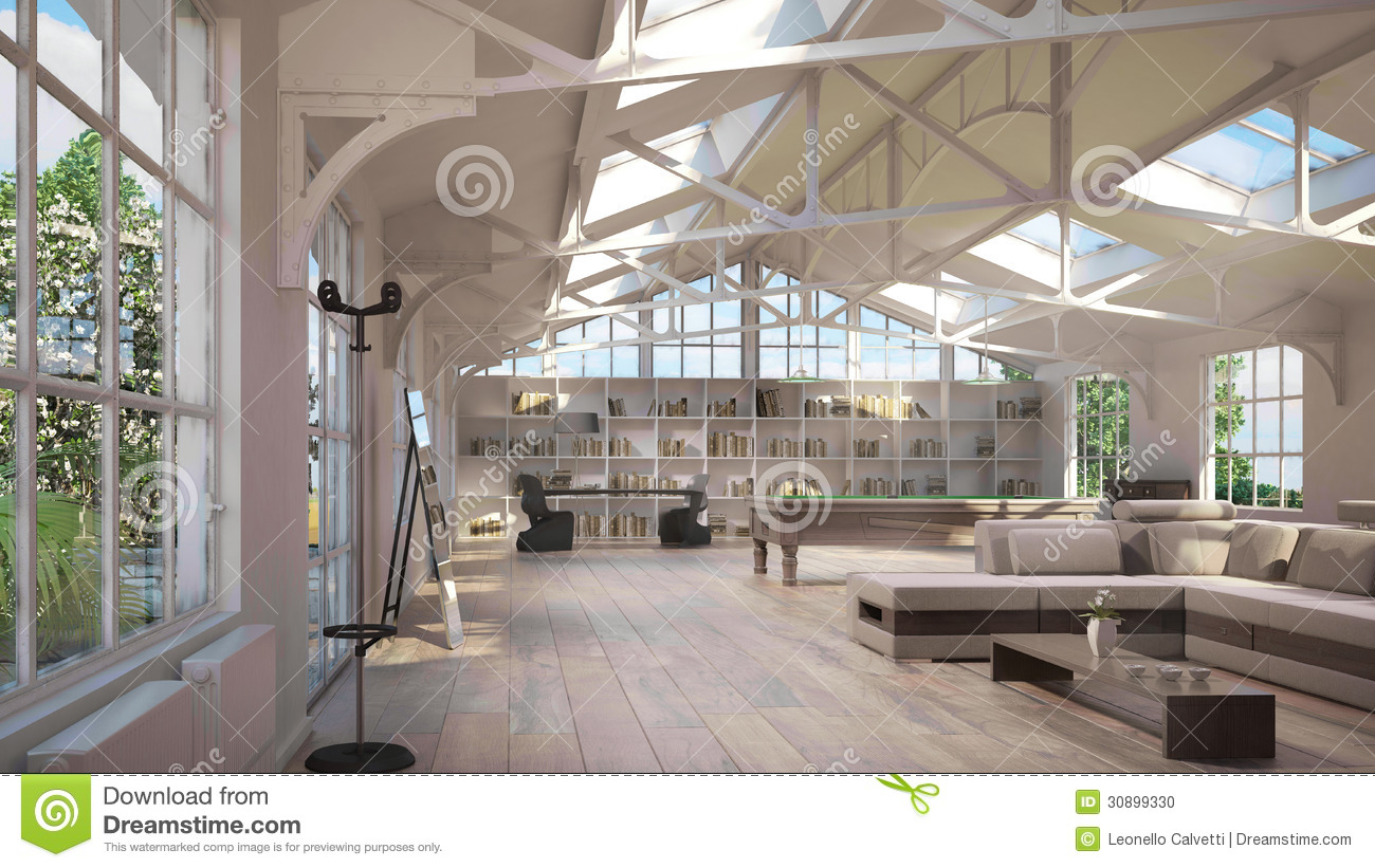 Luxury Loft Interiors Stock Photo Image 30899330