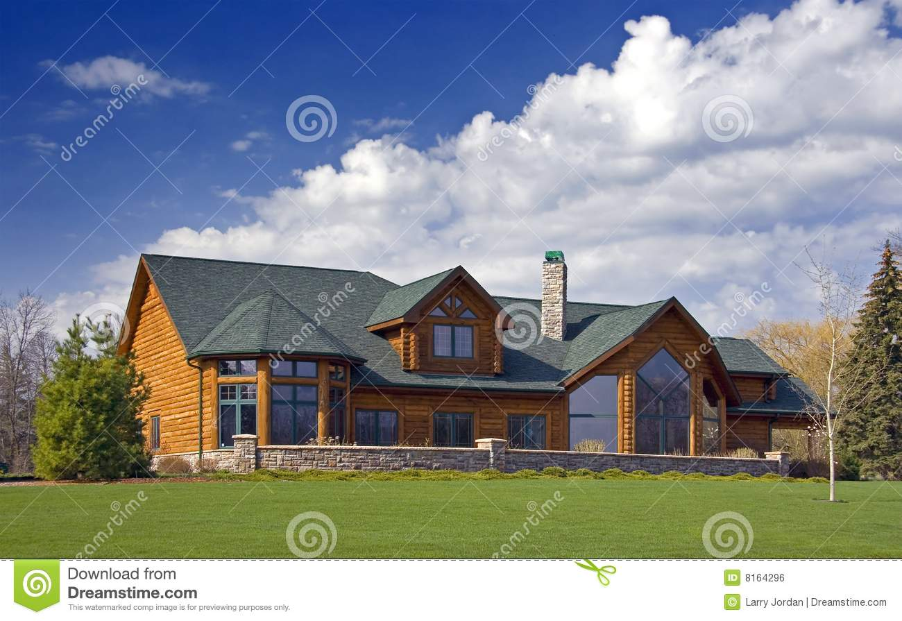 Luxury log cabin home royalty free stock image image for Modern log house