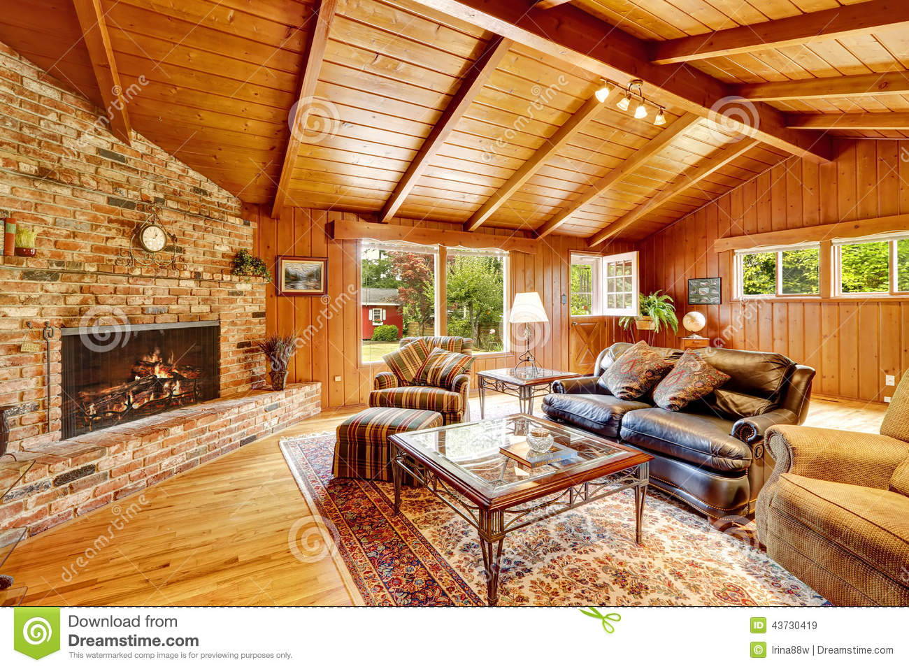 luxury log cabin house interior living room with fireplace and royalty free stock photo