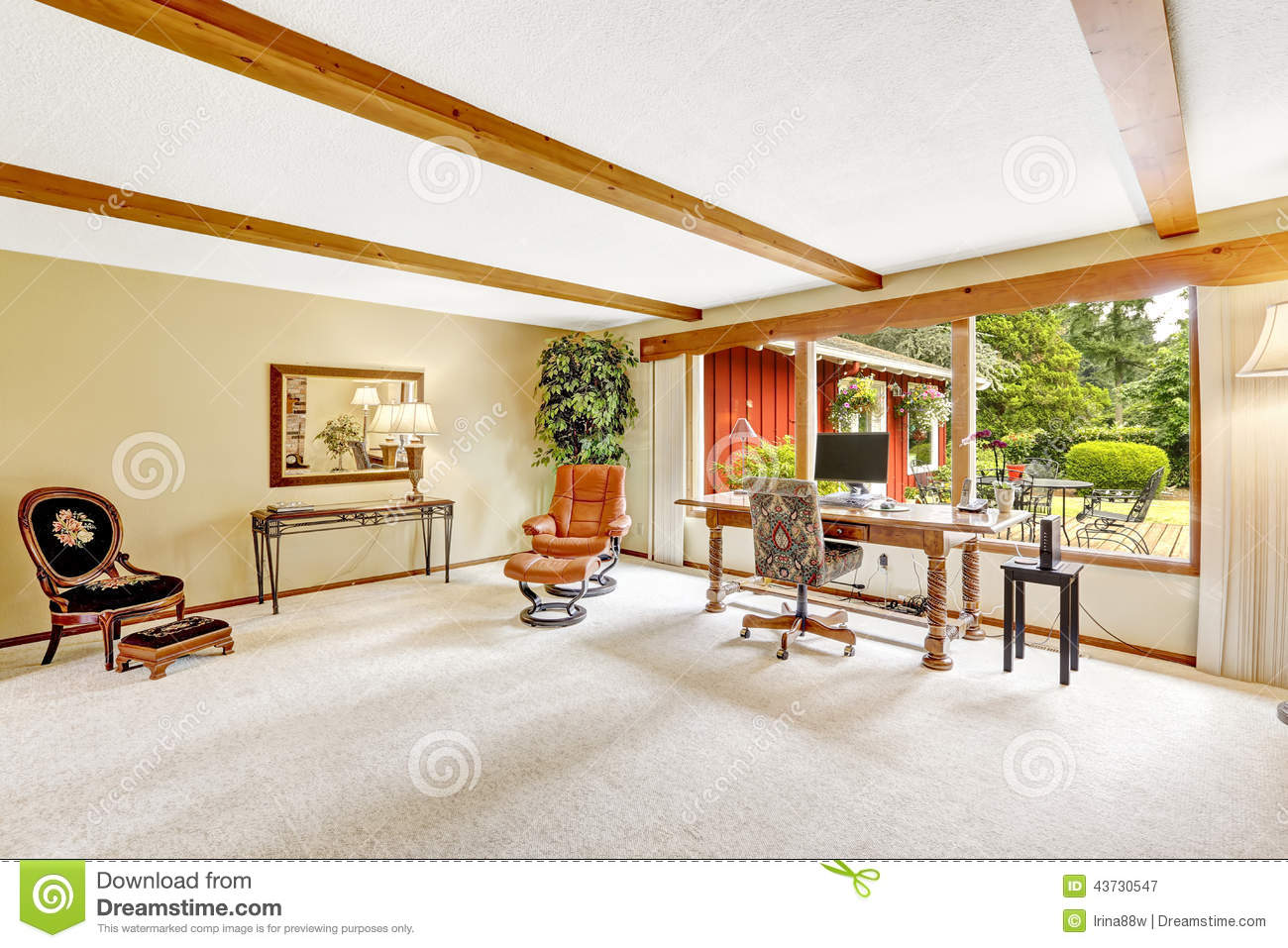 Luxury Log Cabin House Interior Living Room With Office