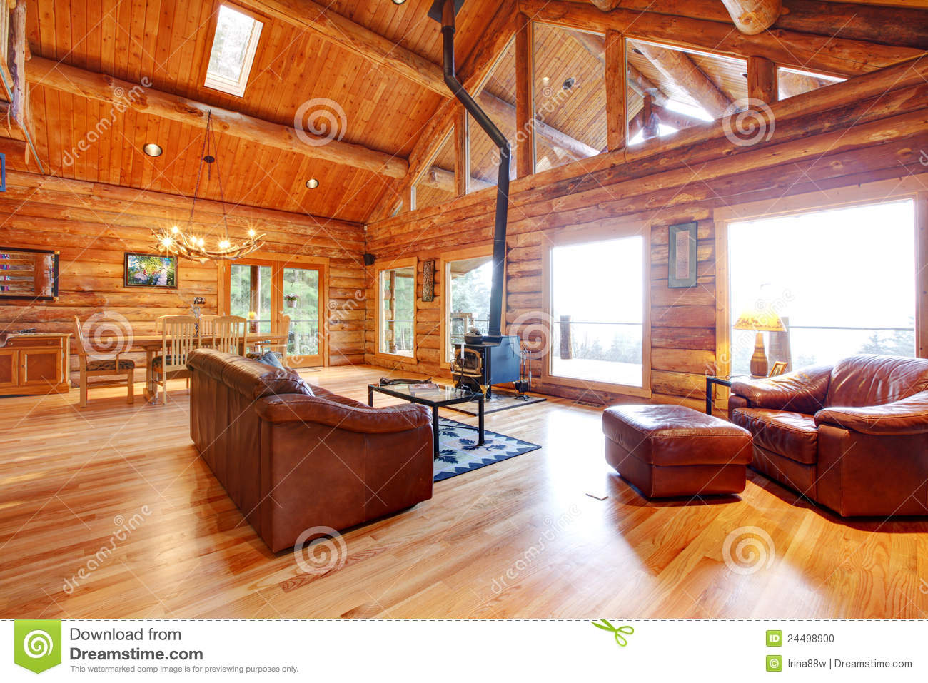 Luxury Log Cabin Living Room With Leather Sofa. Stock Photo - Image ...
