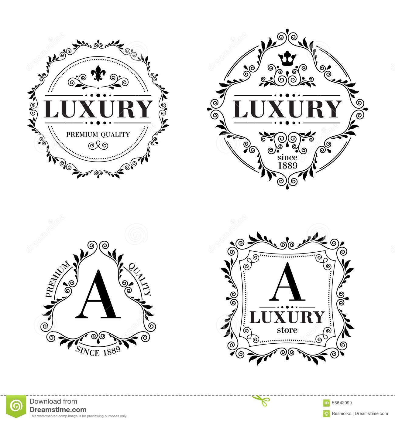 Download Luxury Logo Template Ornament Labels Set Stock Vector