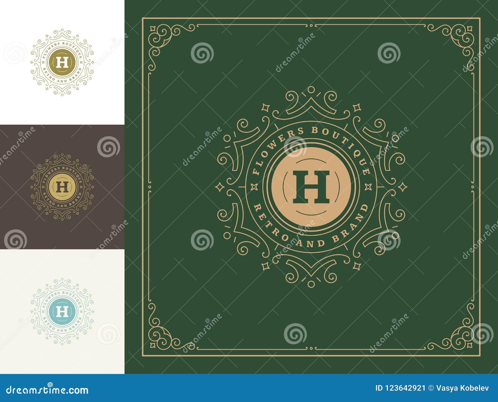 Luxury logo template vector vintage flourishes ornaments.