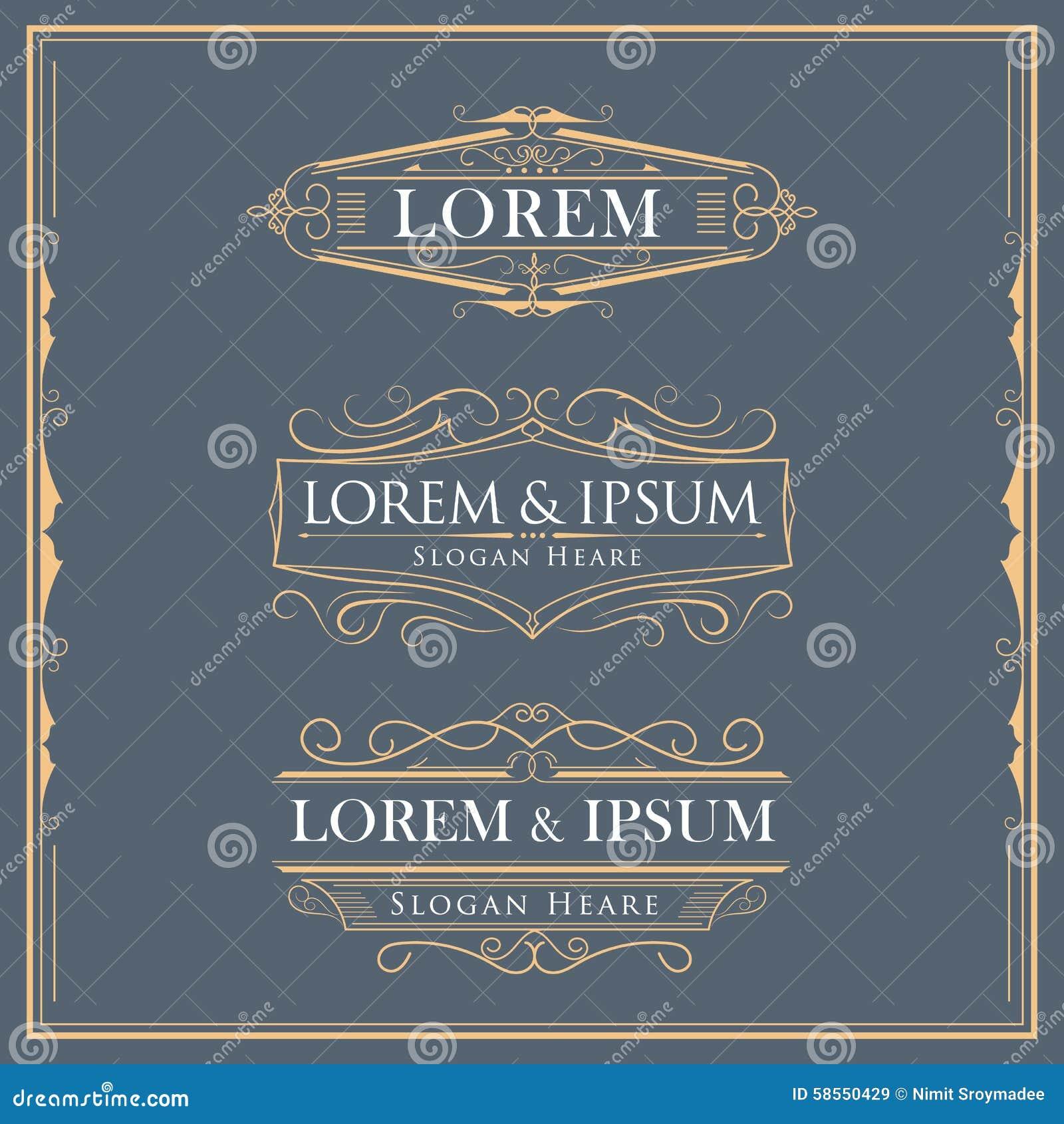 Luxury logos flourishes calligraphy elegant template