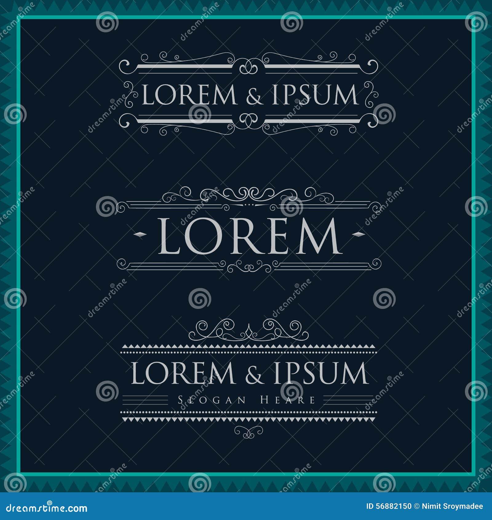 Luxury logos template calligraphy flourishes