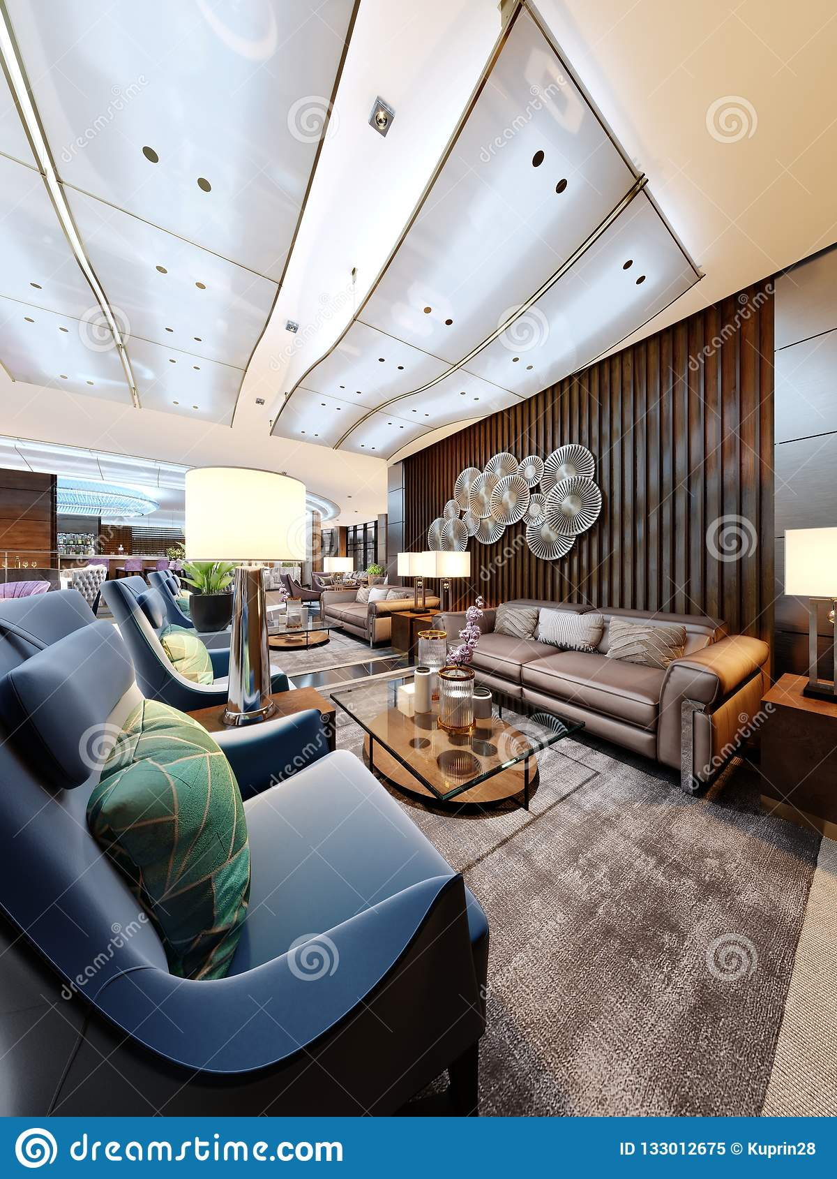 Luxury Lounge Entrance Area In Hotel With Leather Sofa And Fabric Armchair Designer White Cabinets With A Flower Pot And Wooden Stock Illustration Illustration Of Flower Hotel 133012675