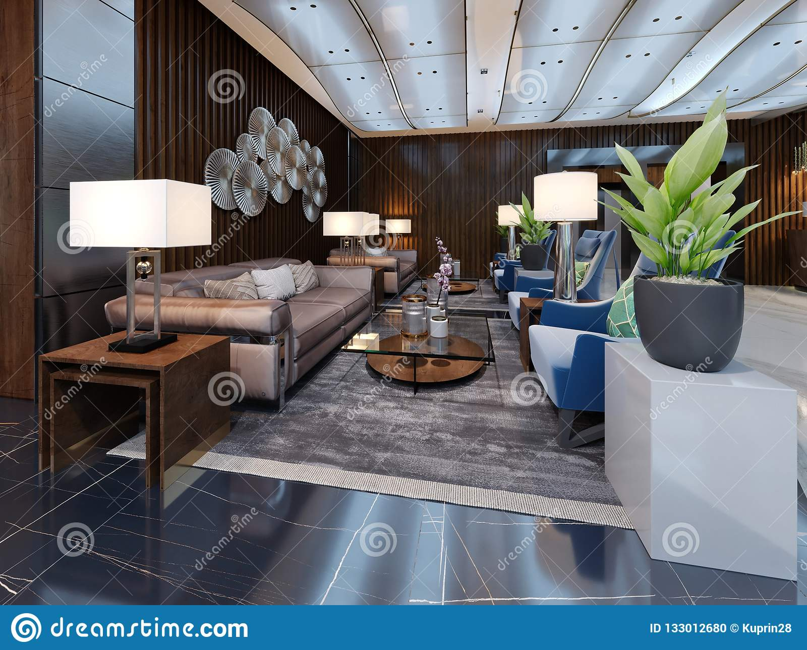 Luxury Lounge Entrance Area In Hotel With Leather Sofa And Fabric Armchair Designer White Cabinets With A Flower Pot And Wooden Stock Illustration Illustration Of Lamp Hallway 133012680