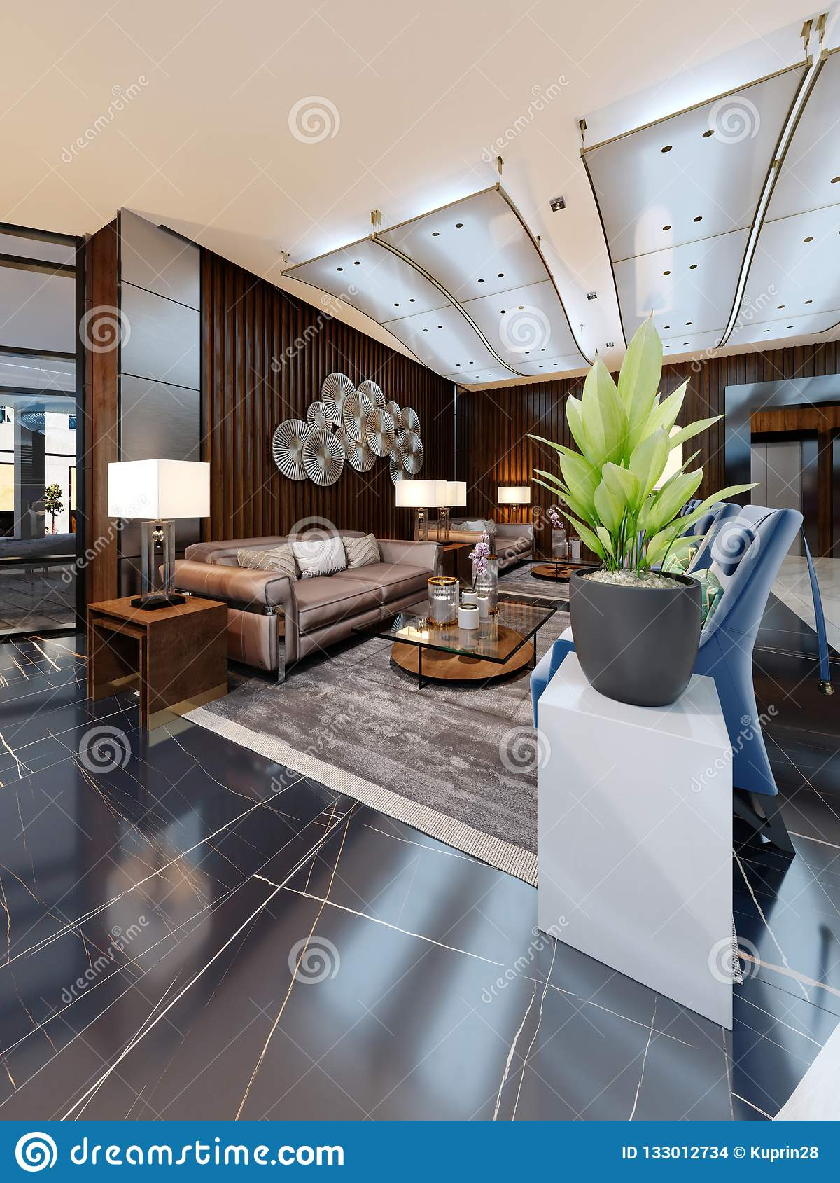 Luxury Lounge Entrance Area In Hotel With Leather Sofa And Fabric Armchair Designer White Cabinets With A Flower Pot And Wooden Stock Illustration Illustration Of Leather Flowers 133012734
