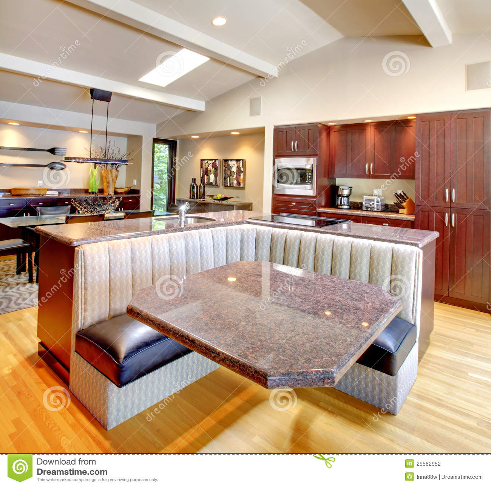 Luxury Mahogany Kitchen With Modern Furniture. Stock