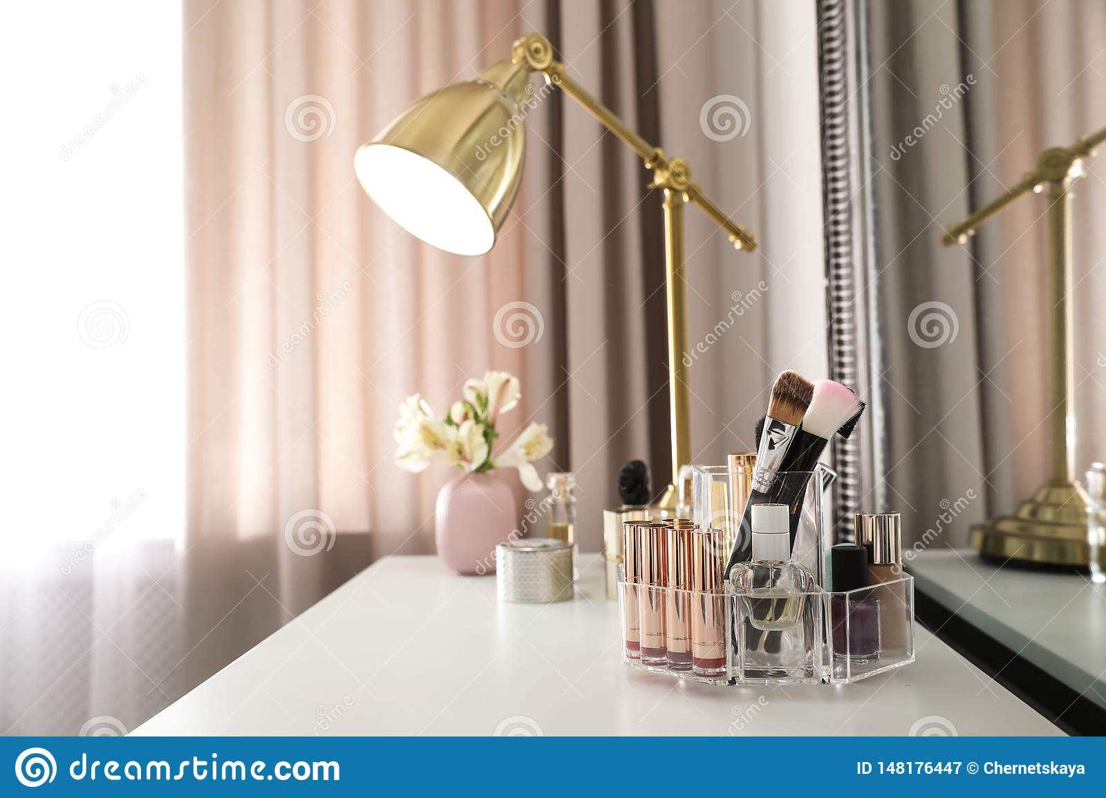 Luxury Makeup Products And Accessories On Dressing Table With Mirror Stock Image Image Of Cosmetology Furniture 148176447