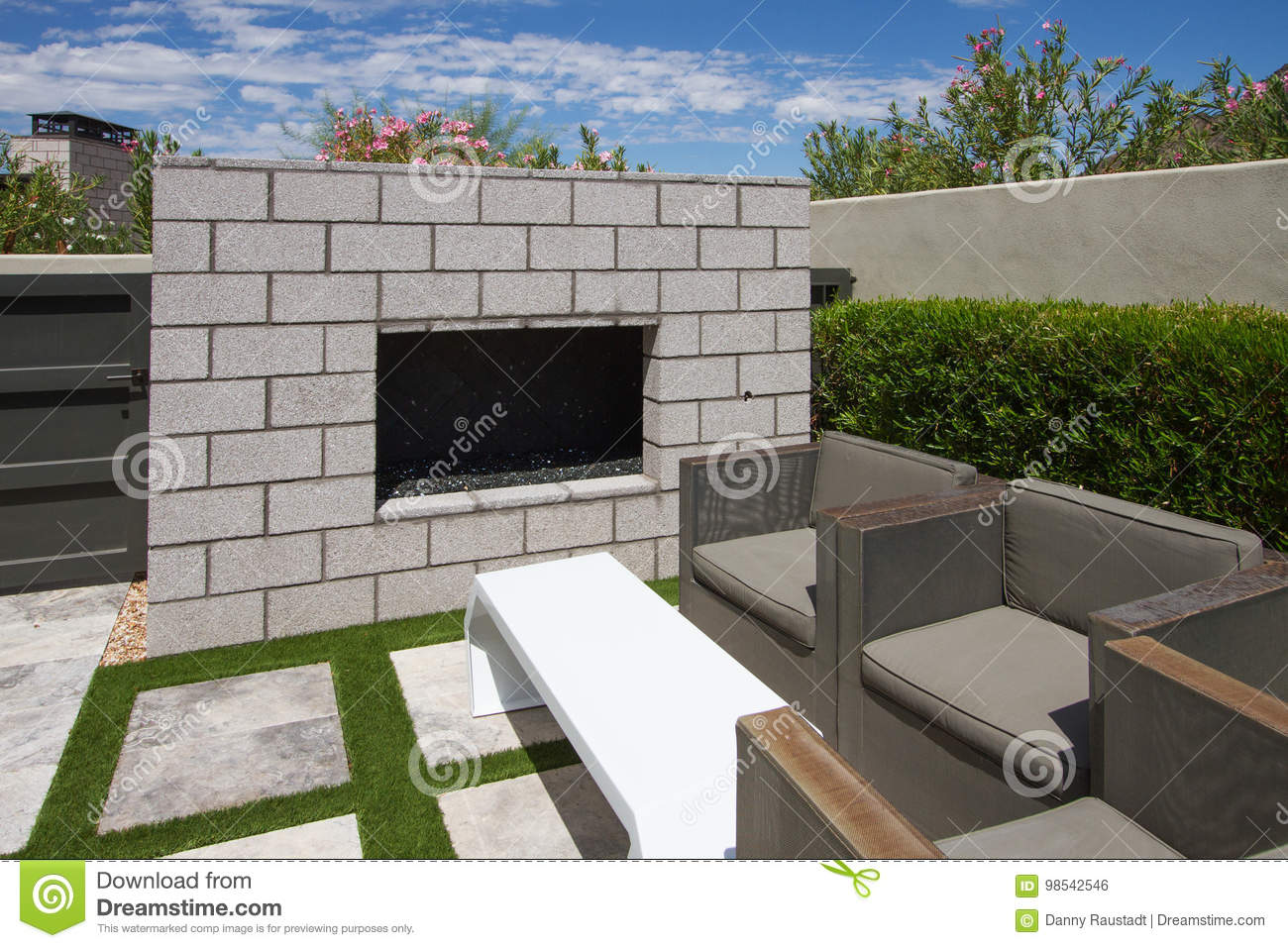 Awe Inspiring Luxury Modern Home Outdoor Garden Fireplace Stock Photo Home Remodeling Inspirations Genioncuboardxyz