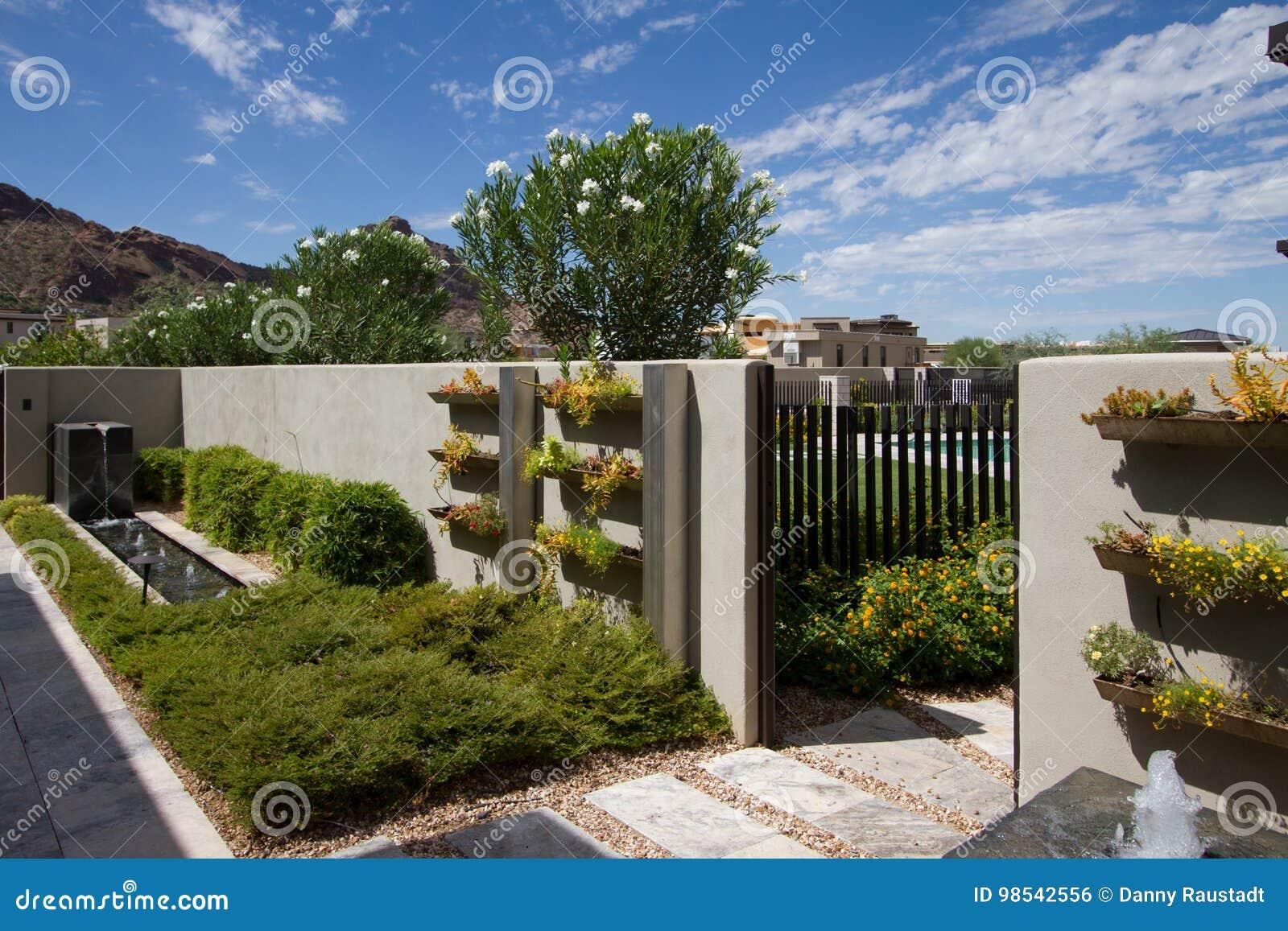 Download Luxury Mansion Home Outdoor Garden Fountain Stock Photo