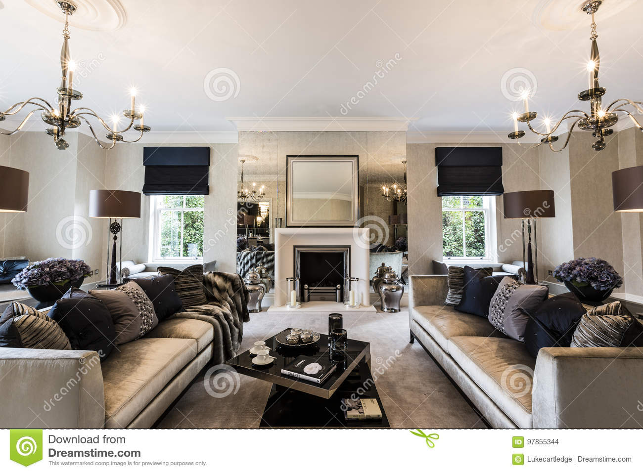 Download A Luxury Mansion Living Room With Feature Fireplace Stock Photo    Image Of Luxury,