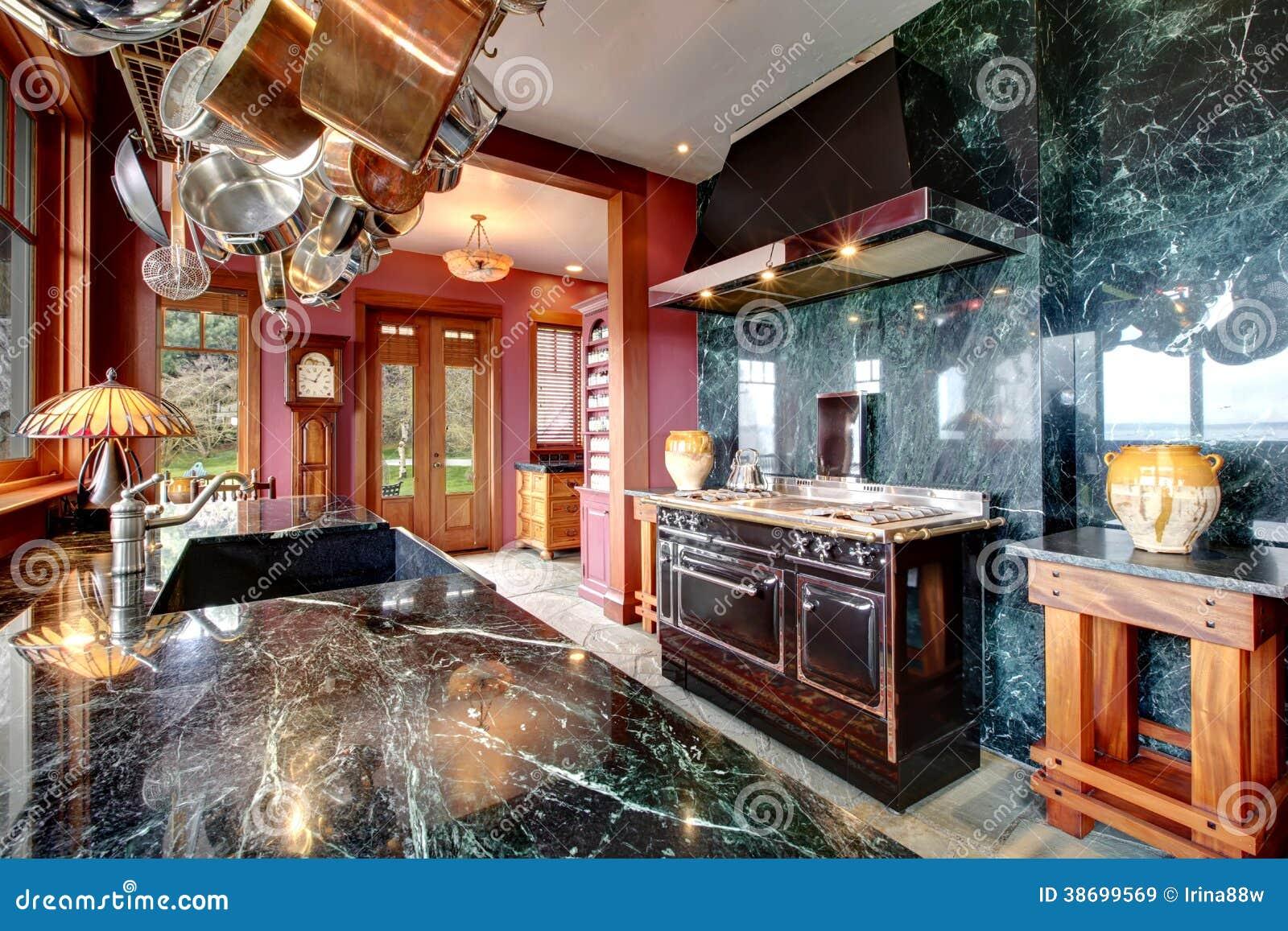 Luxury Marble Kitchen Room Stock Image Image Of Furnished