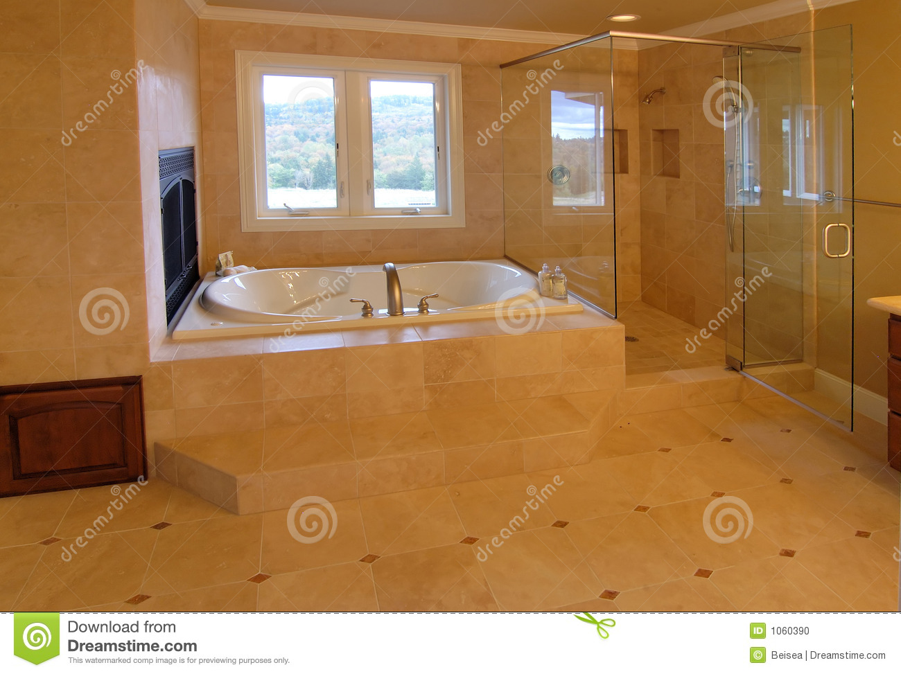 Luxury master bath stock photo image of open floor for Bathroom contractors