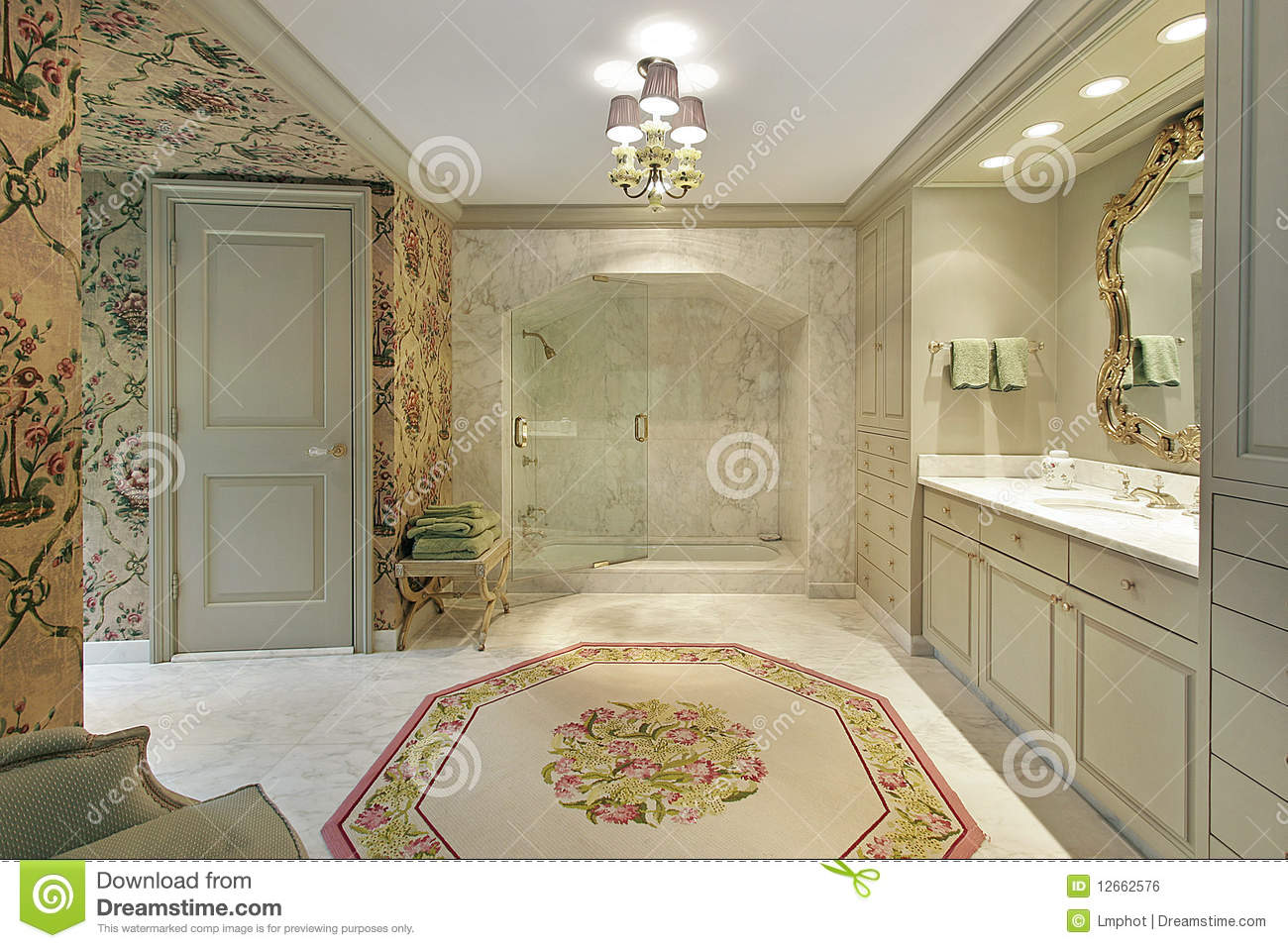 Luxury Master Bath With Marble Shower Royalty Free Stock Image ...