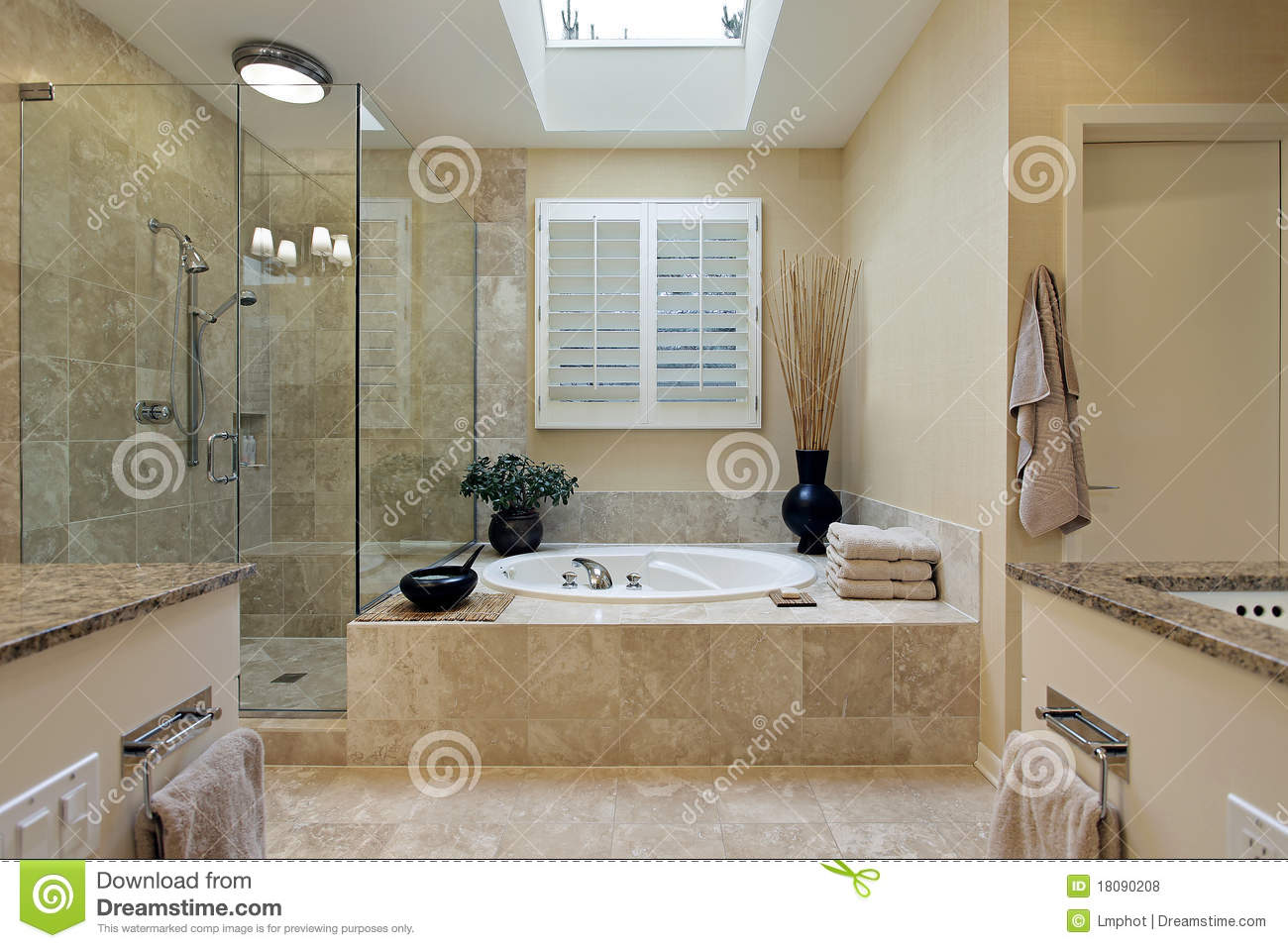 Luxury master bath with skylight stock photo image 18090208 for Bathroom designs 12x8