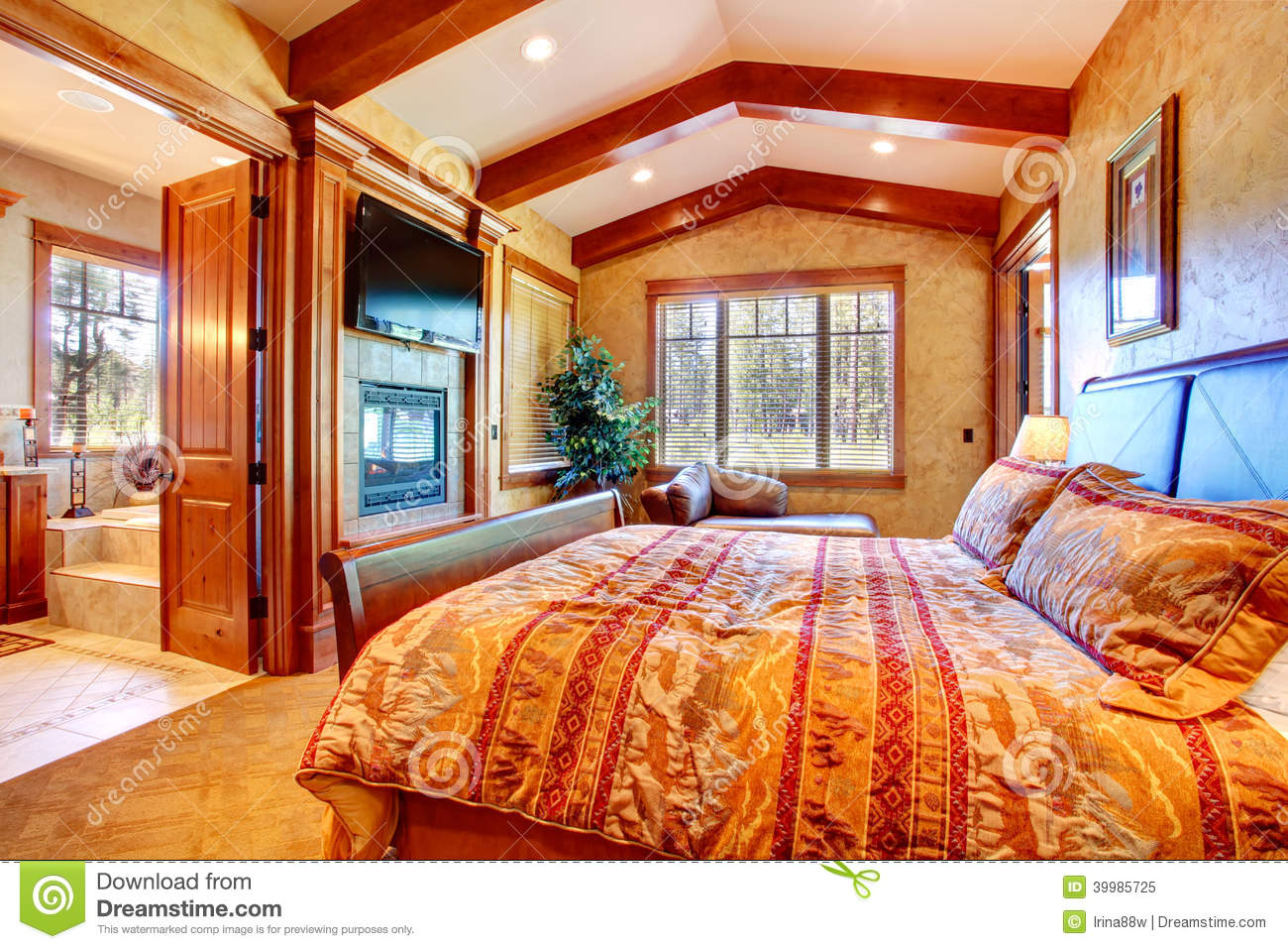 Beautiful Master Bedrooms And Bathrooms: Luxury Master Bedroom Interior Stock Photo