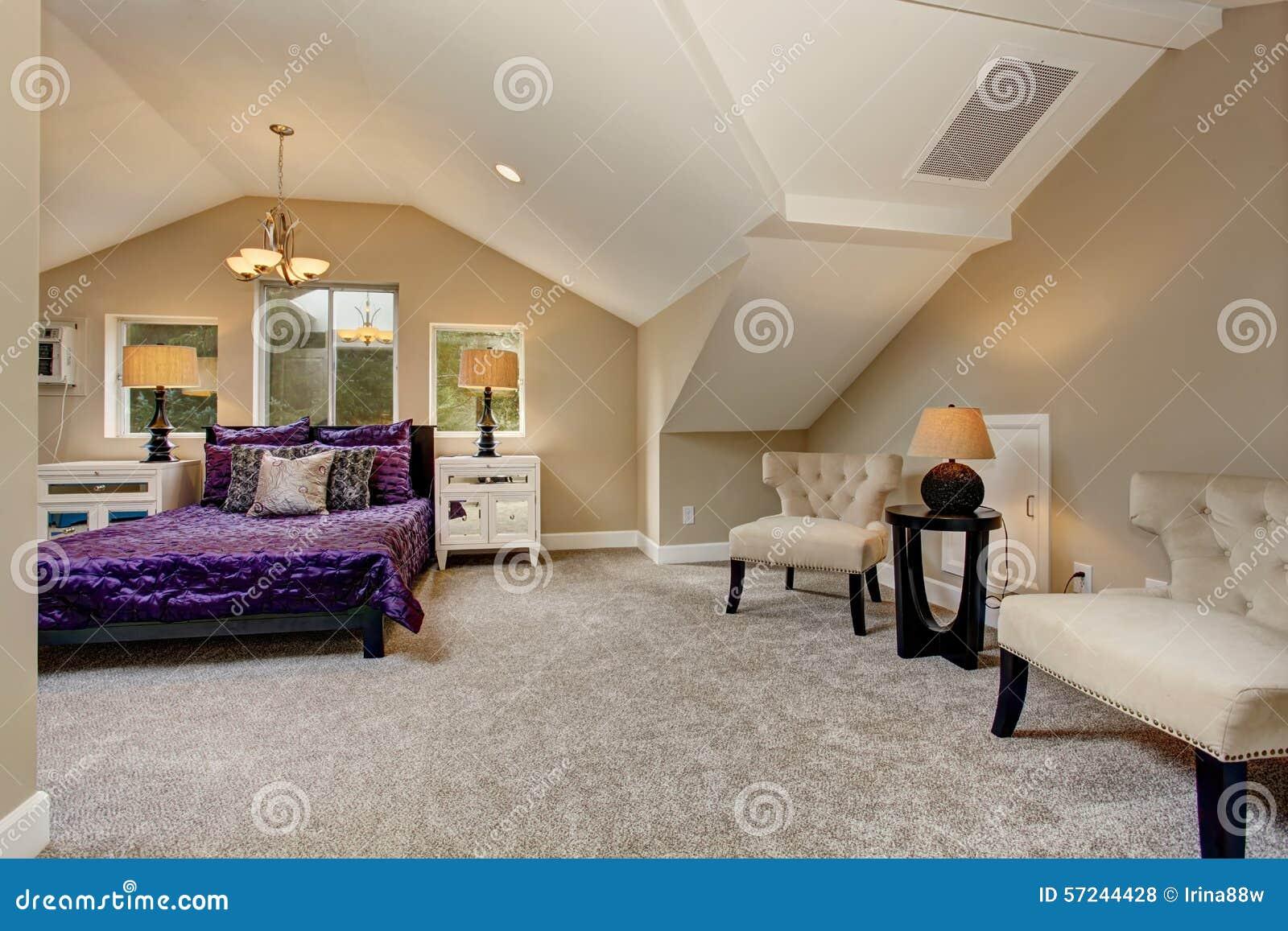 Luxury Master Bedroom With Purple Bedding Stock Photo Image 57244428